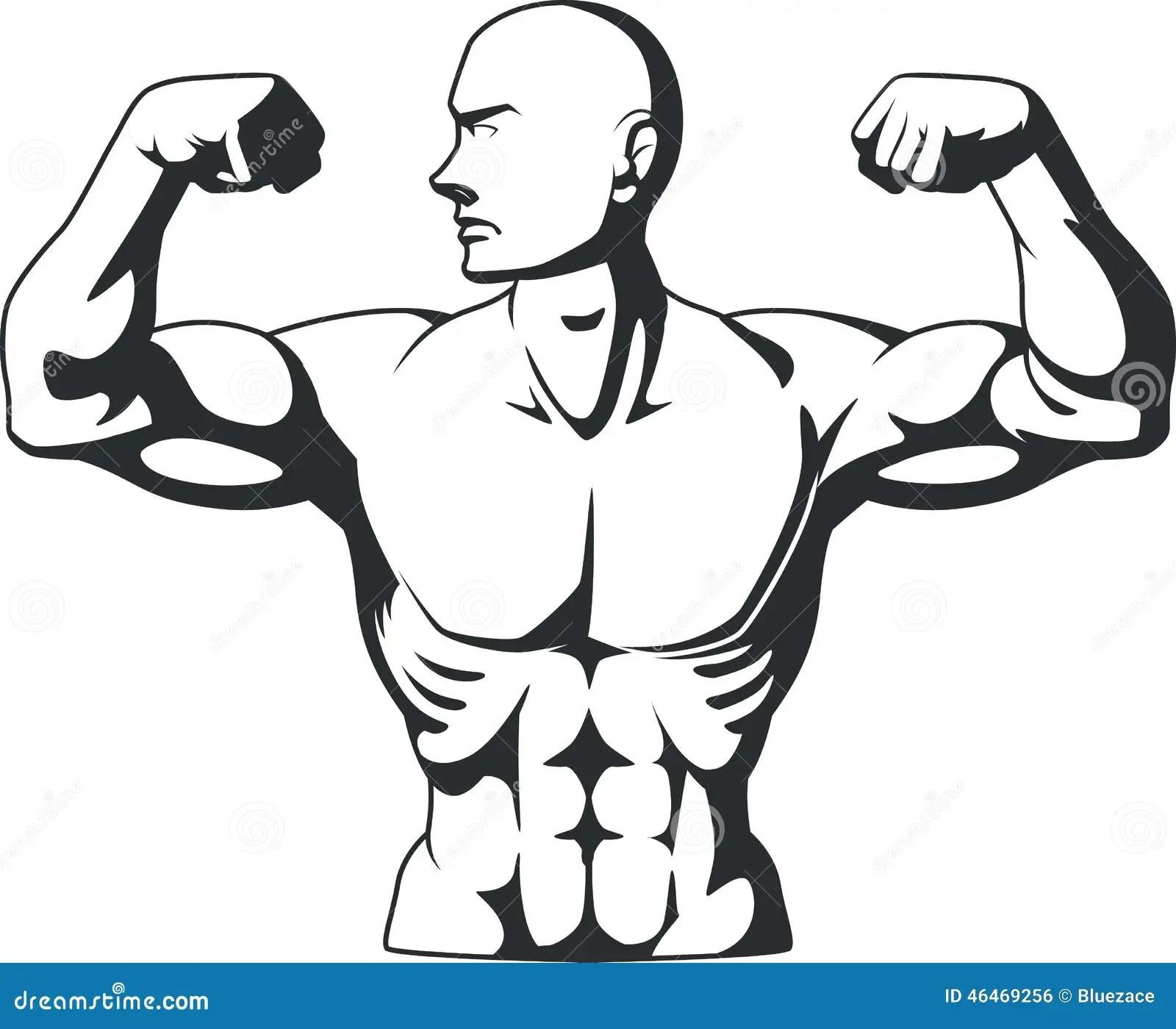 Silhouette Of Bodybuilder Flexing Muscles Stock Vector