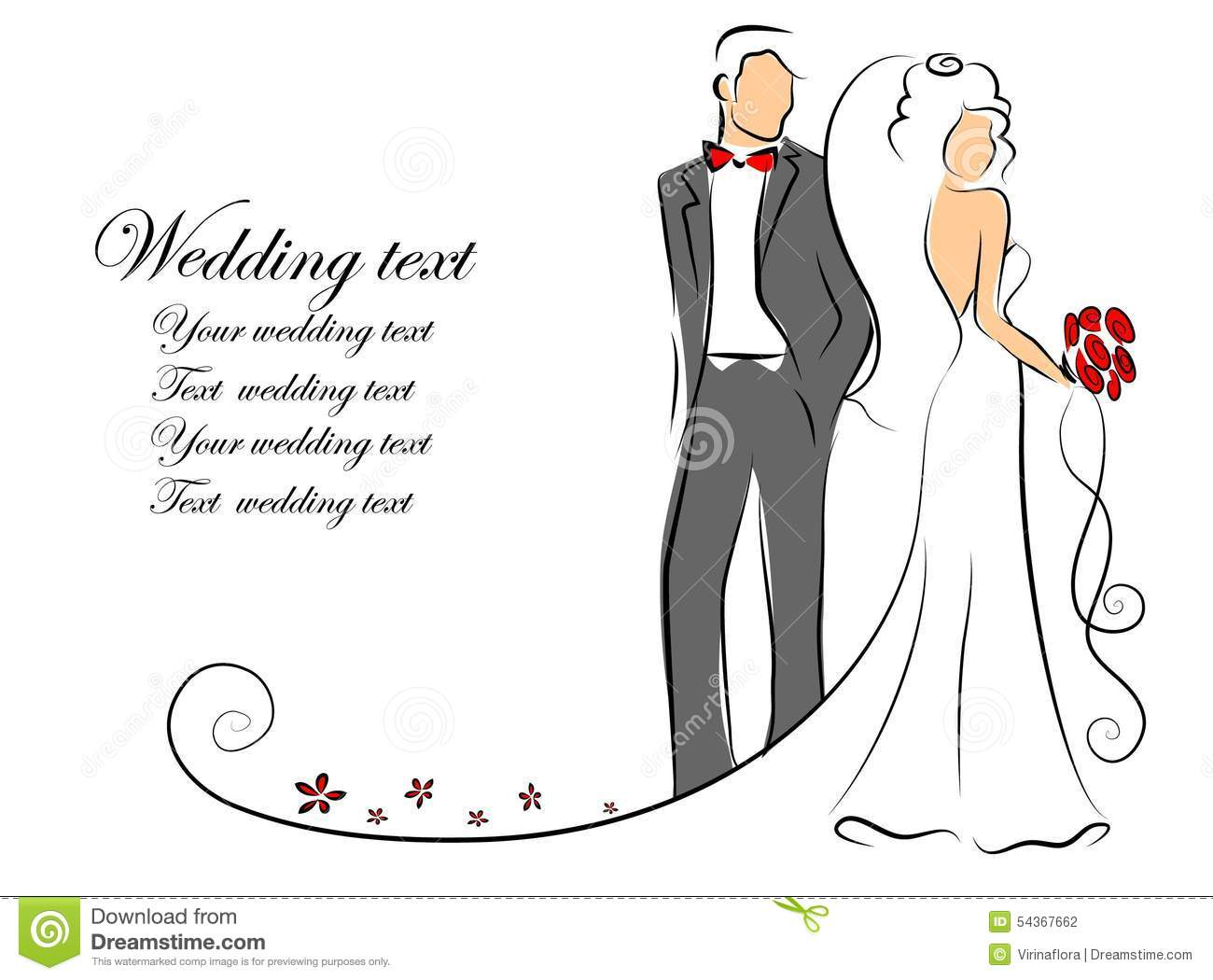 Silhouette Of Bride And Groom Vector Background Stock