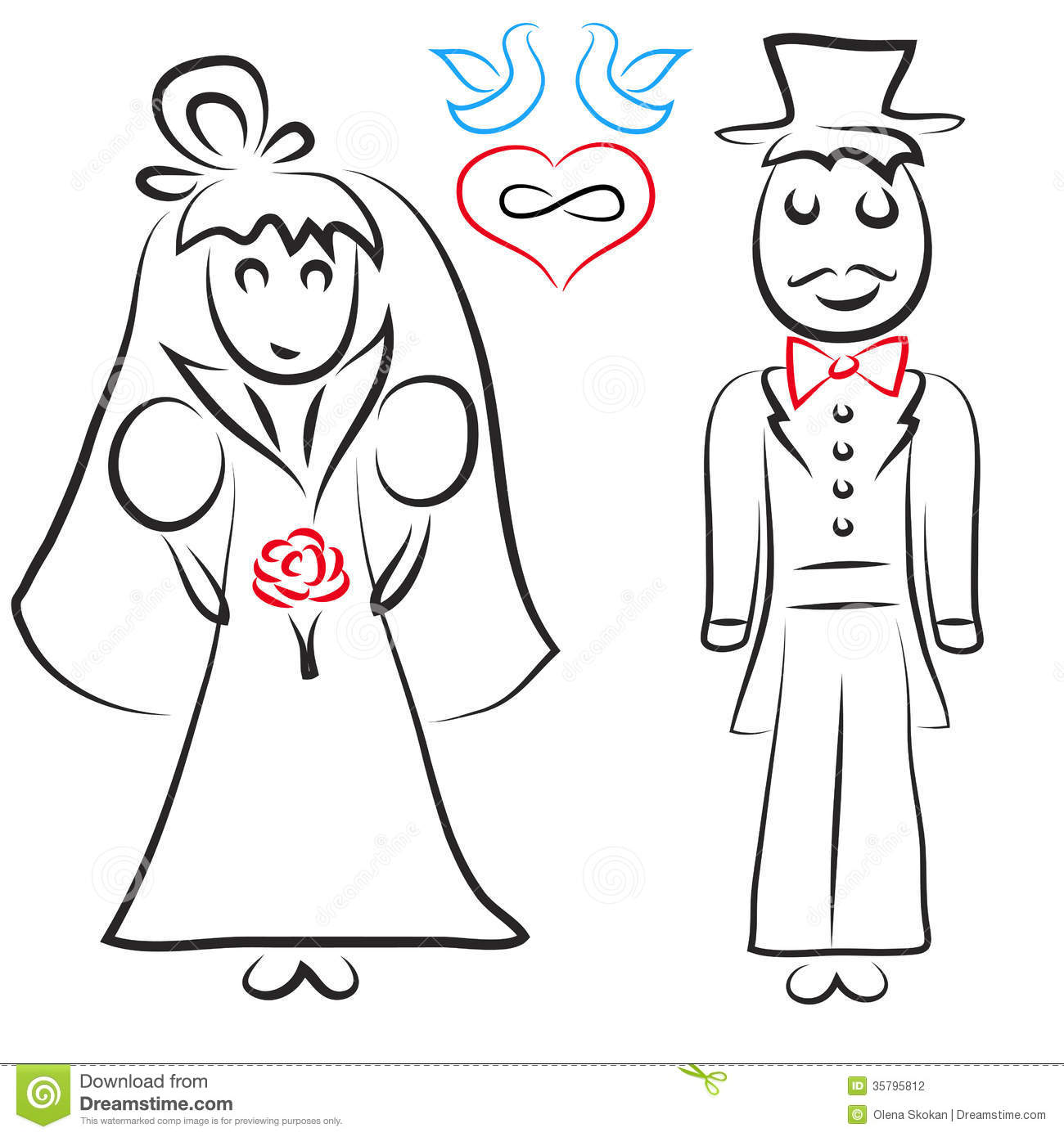 Silhouette Of Bride And Groom Stock Vector