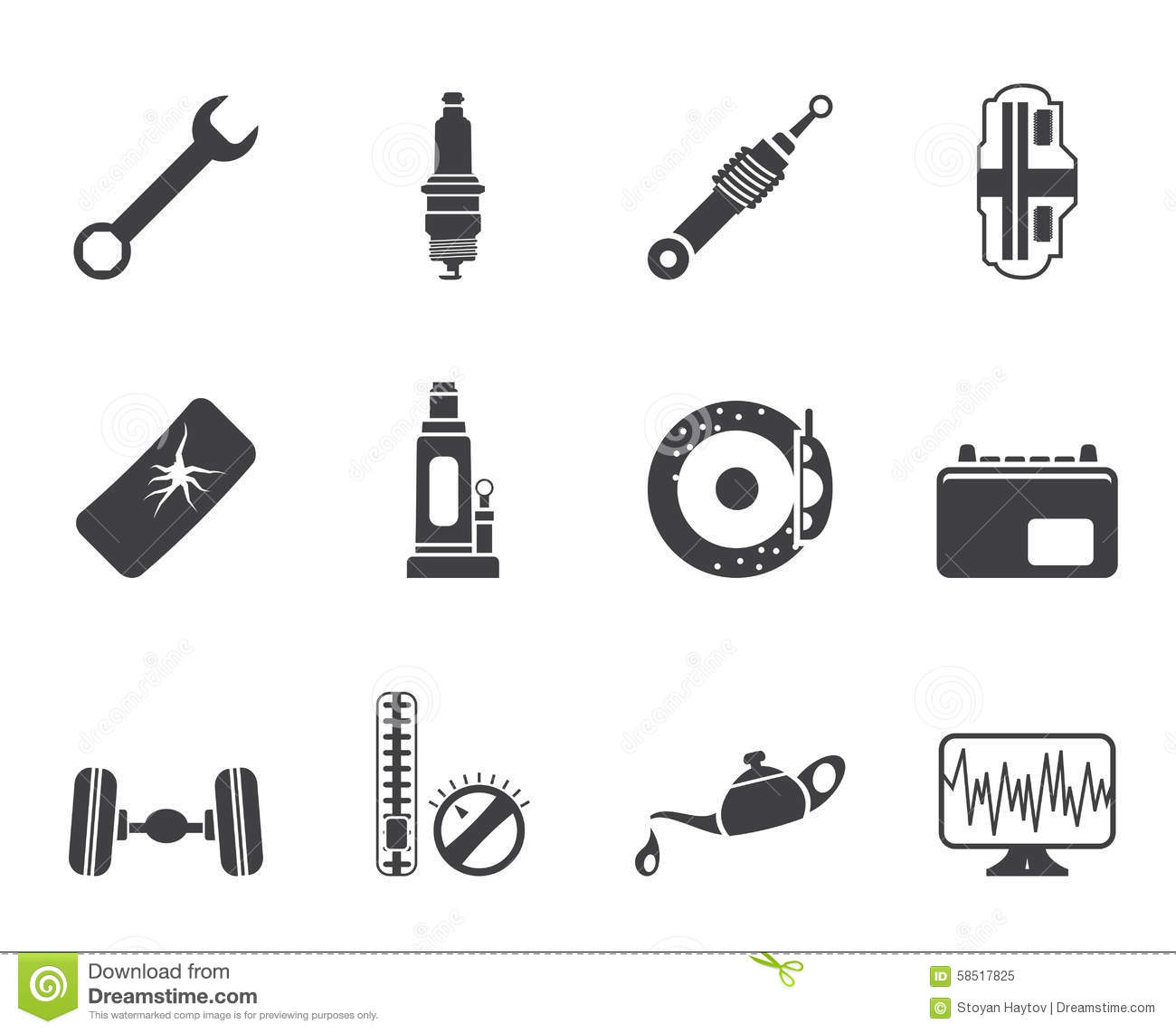 Silhouette Car Parts And Services Icons Stock Vector