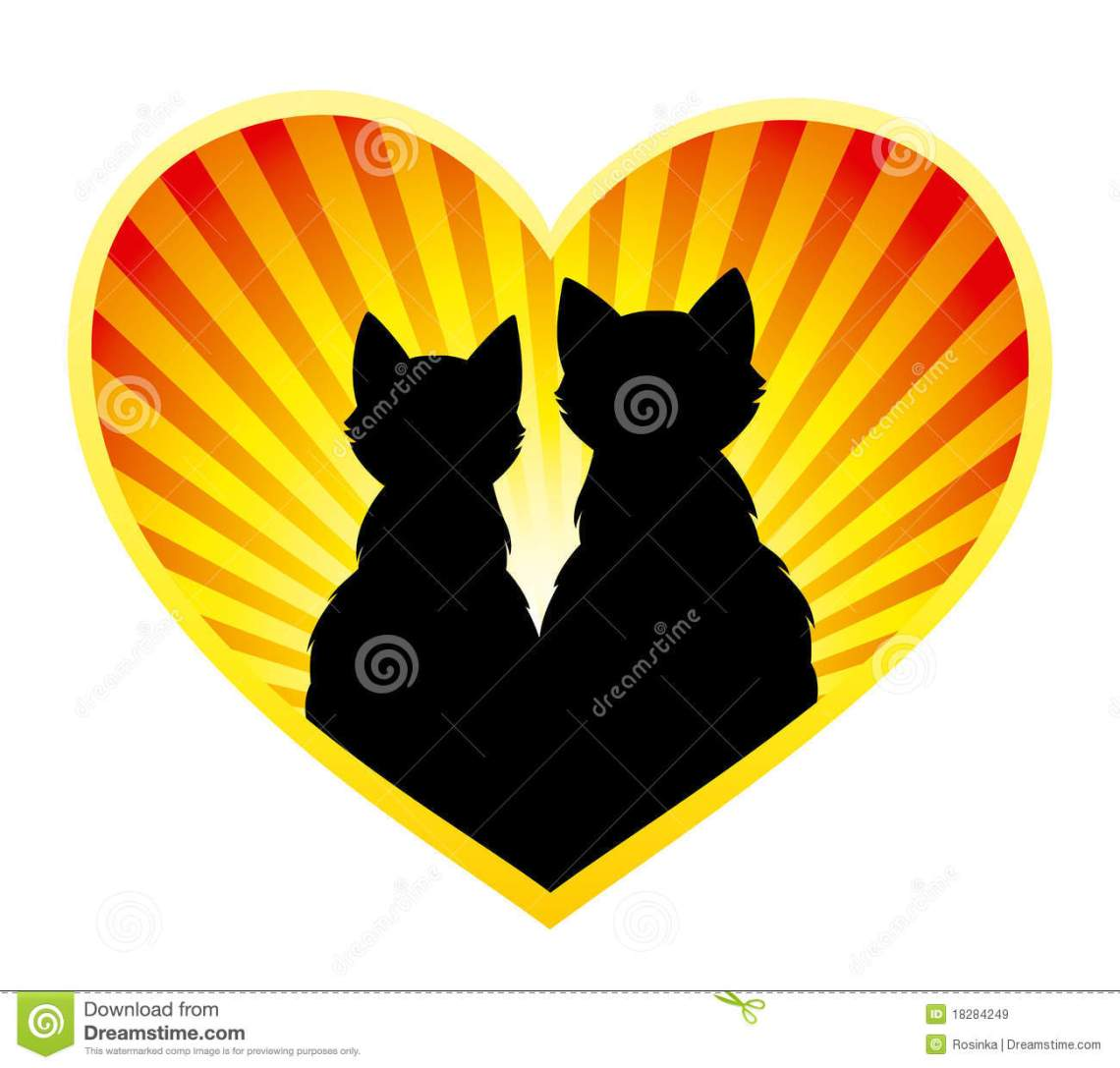 Download Silhouette of cats in love stock vector. Illustration of ...