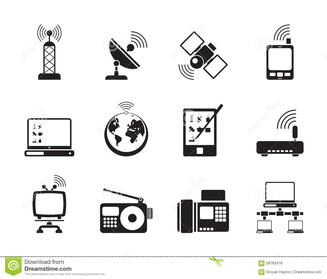 Silhouette Communication And Technology Icons Stock Vector