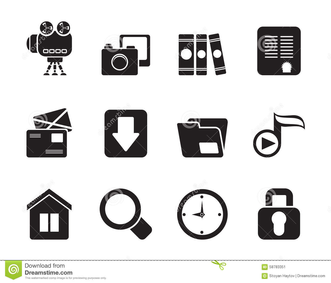 Silhouette Computer And Website Icons Stock Vector