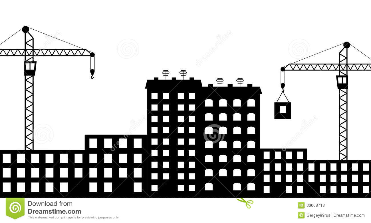 Silhouette The Construction Of City Stock Vector