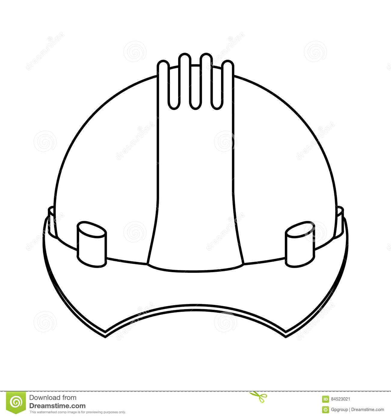 Silhouette Construction Safety Helmet Icon Stock Vector