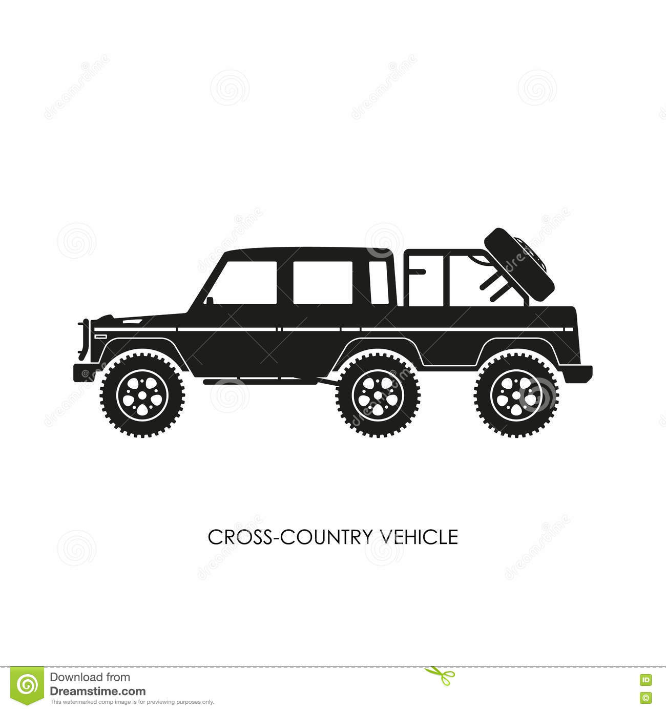 Silhouette Of The Cross Country Vehicle On A White