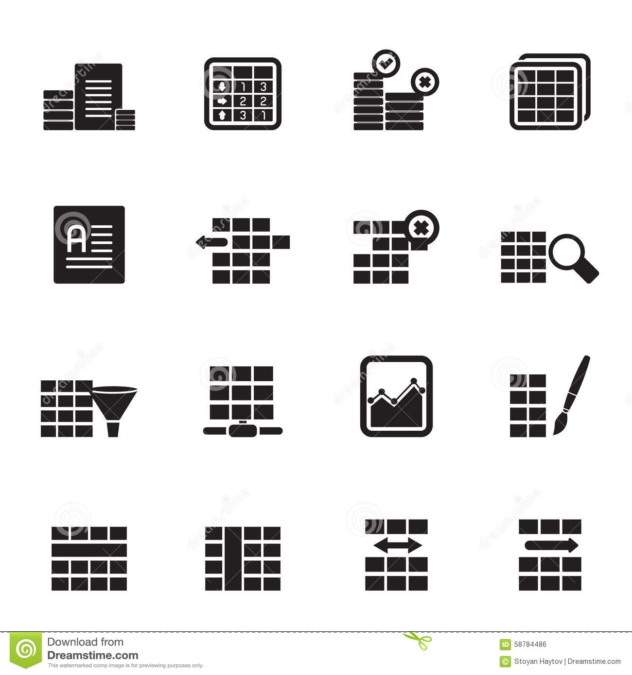 Database And Table Formatting Icons Cartoon Vector