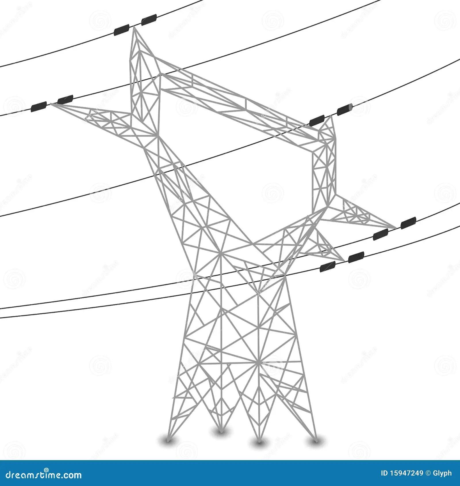 Silhouette Des Lignes Electriques Et Du Pylone Electrique