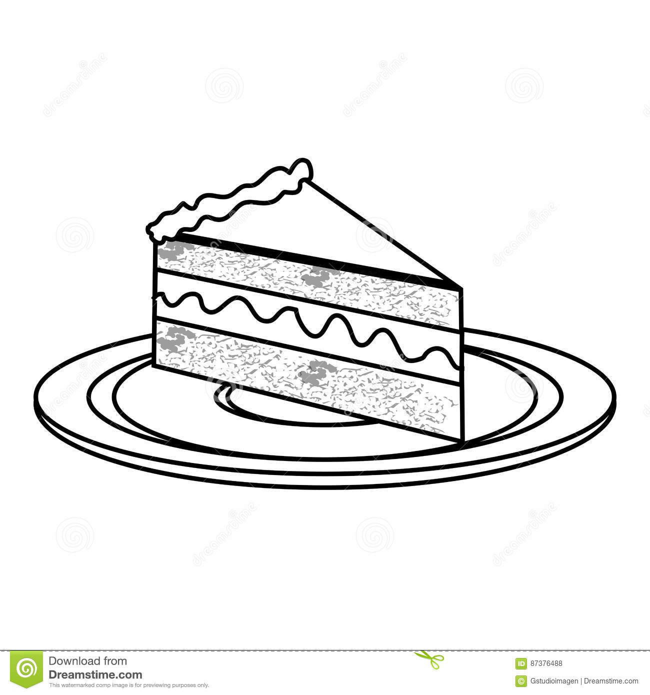 Silhouette Dish With Piece Of Cake With Cream Stock Vector