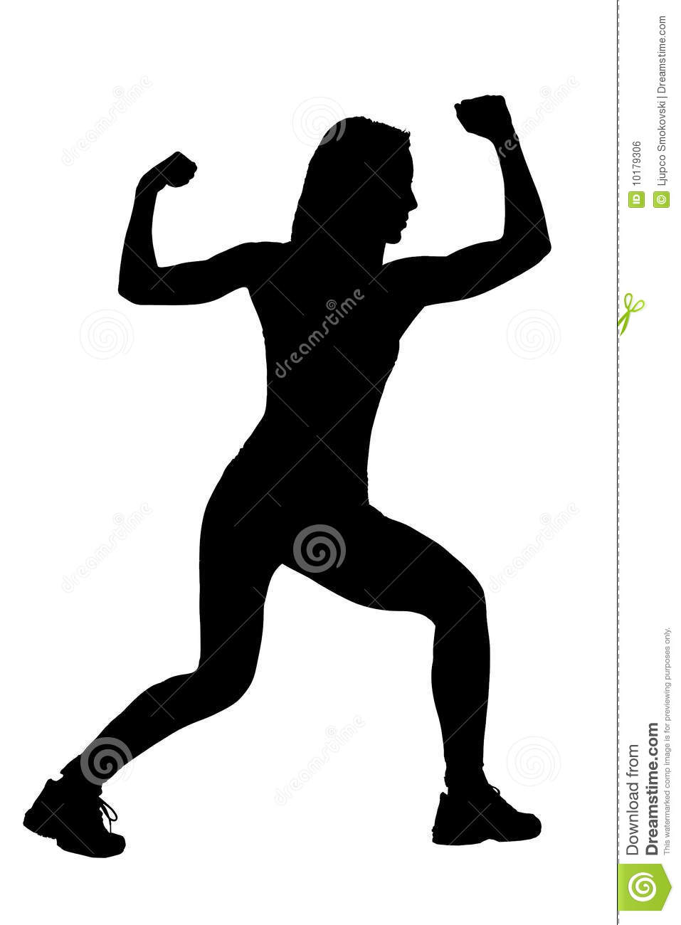A Silhouette Of A Female Athlete Royalty Free Stock Image
