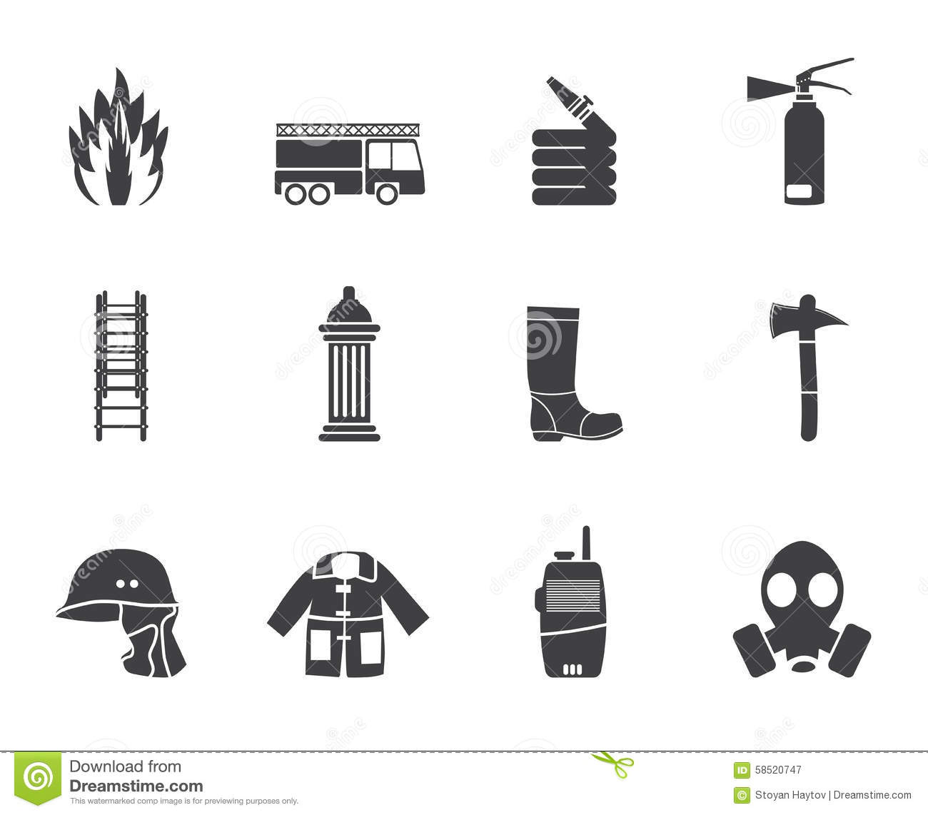 Silhouette Fire Brigade And Fireman Equipment Icon Stock
