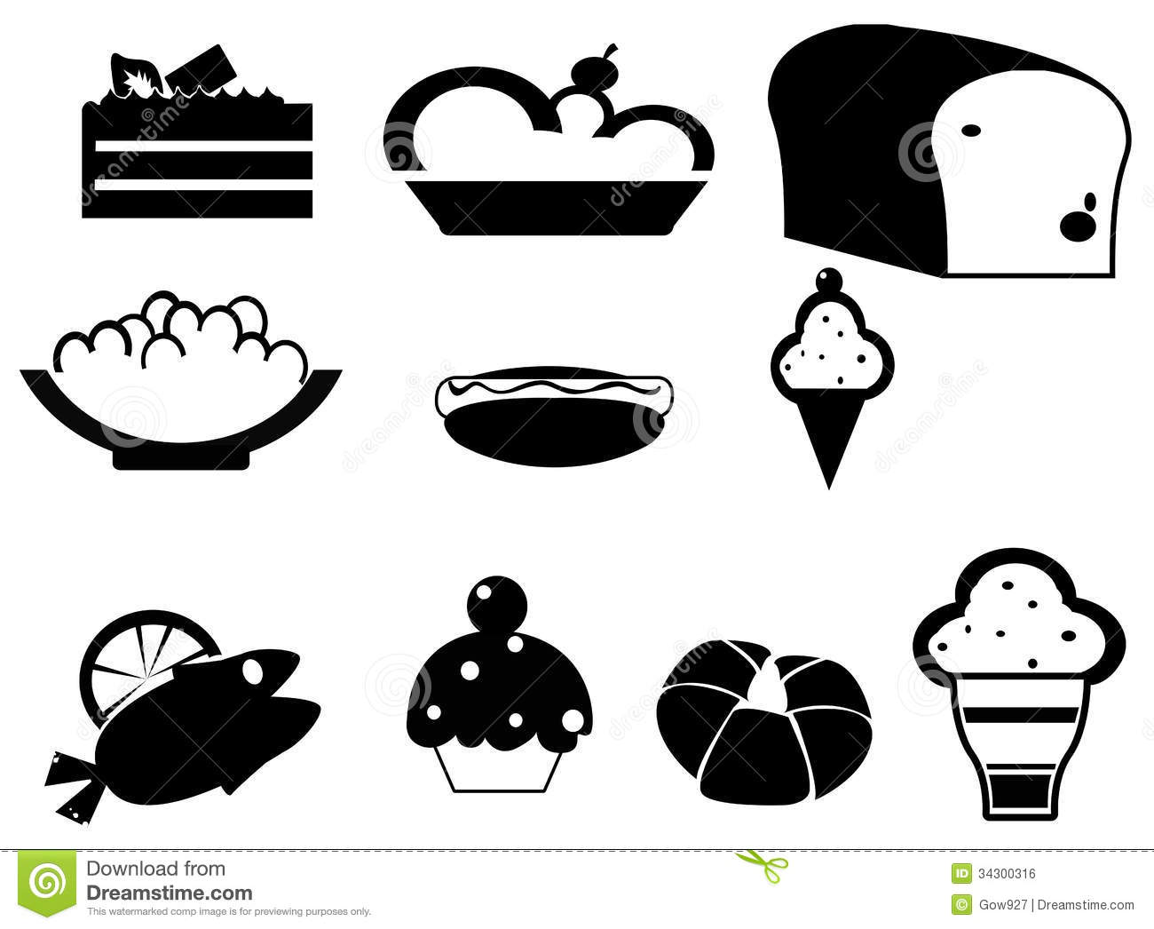 Silhouette Food And Dessert Icon Set Royalty Free Stock