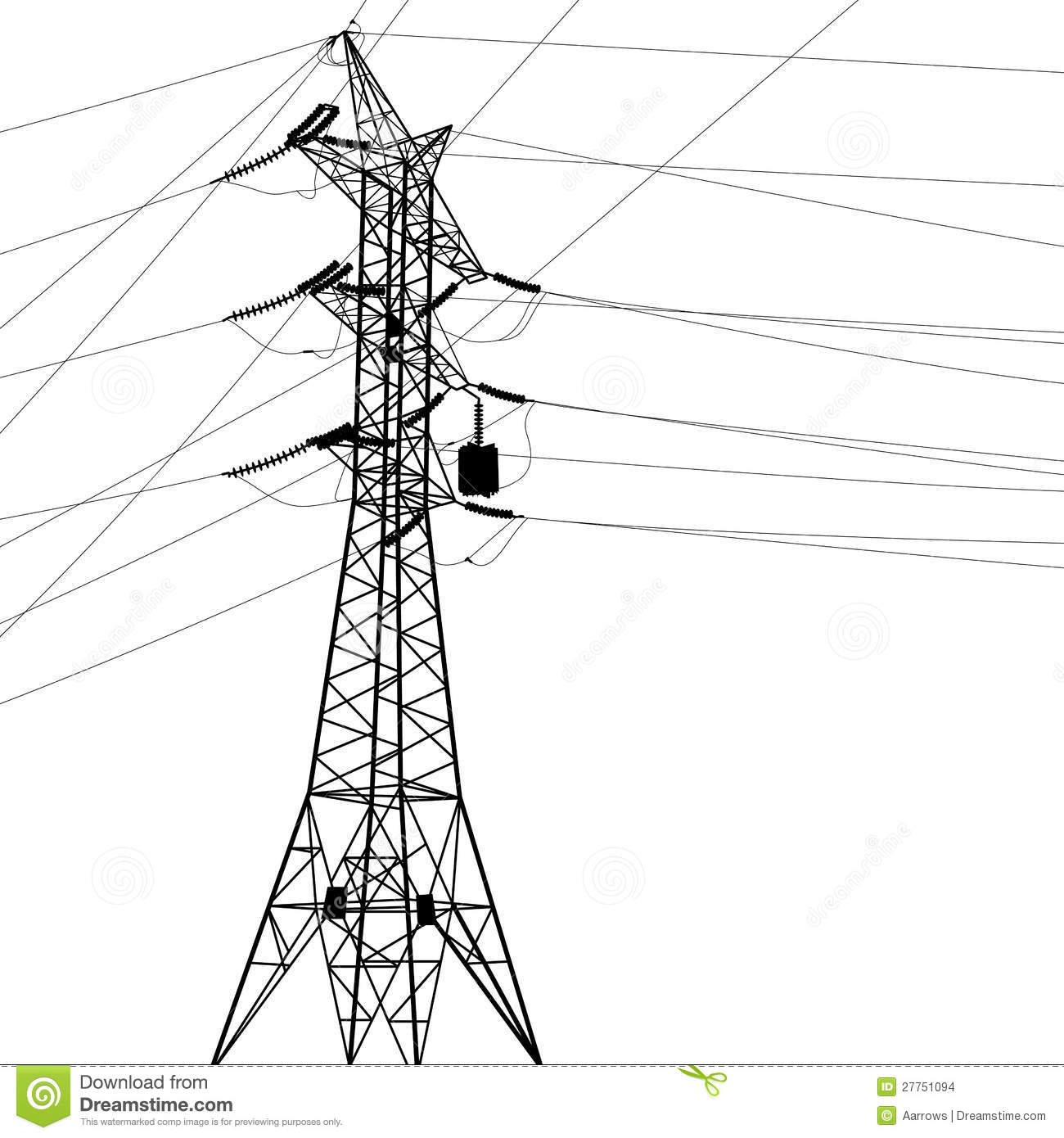 Silhouette Of High Voltage Power Lines Stock Images