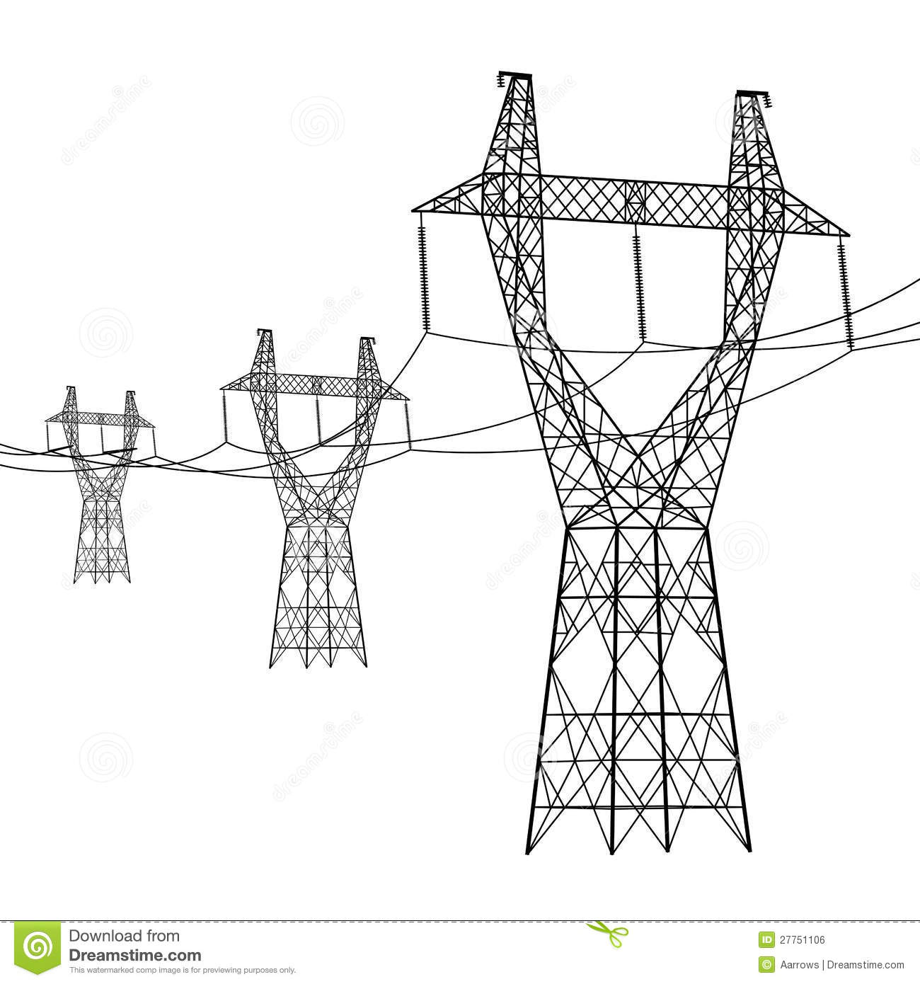Silhouette Of High Voltage Power Lines Stock Vector