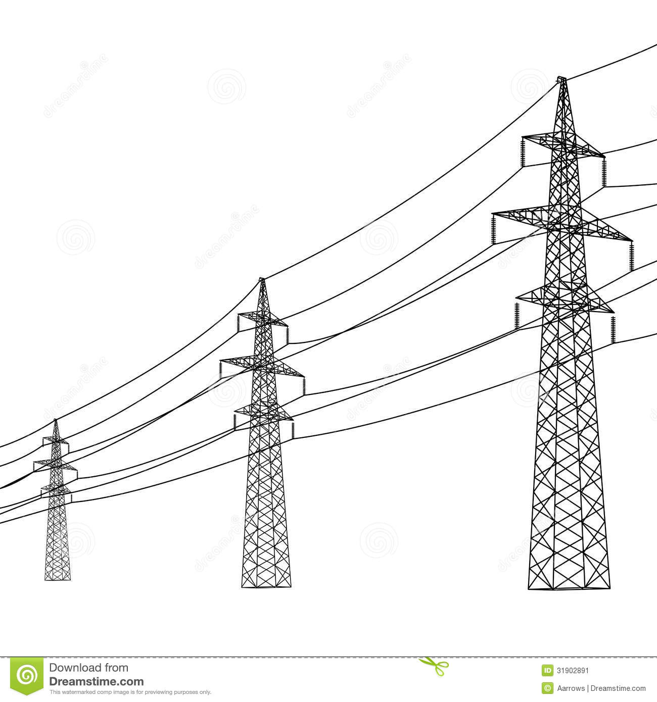 Silhouette Of High Voltage Power Lines Stock Image