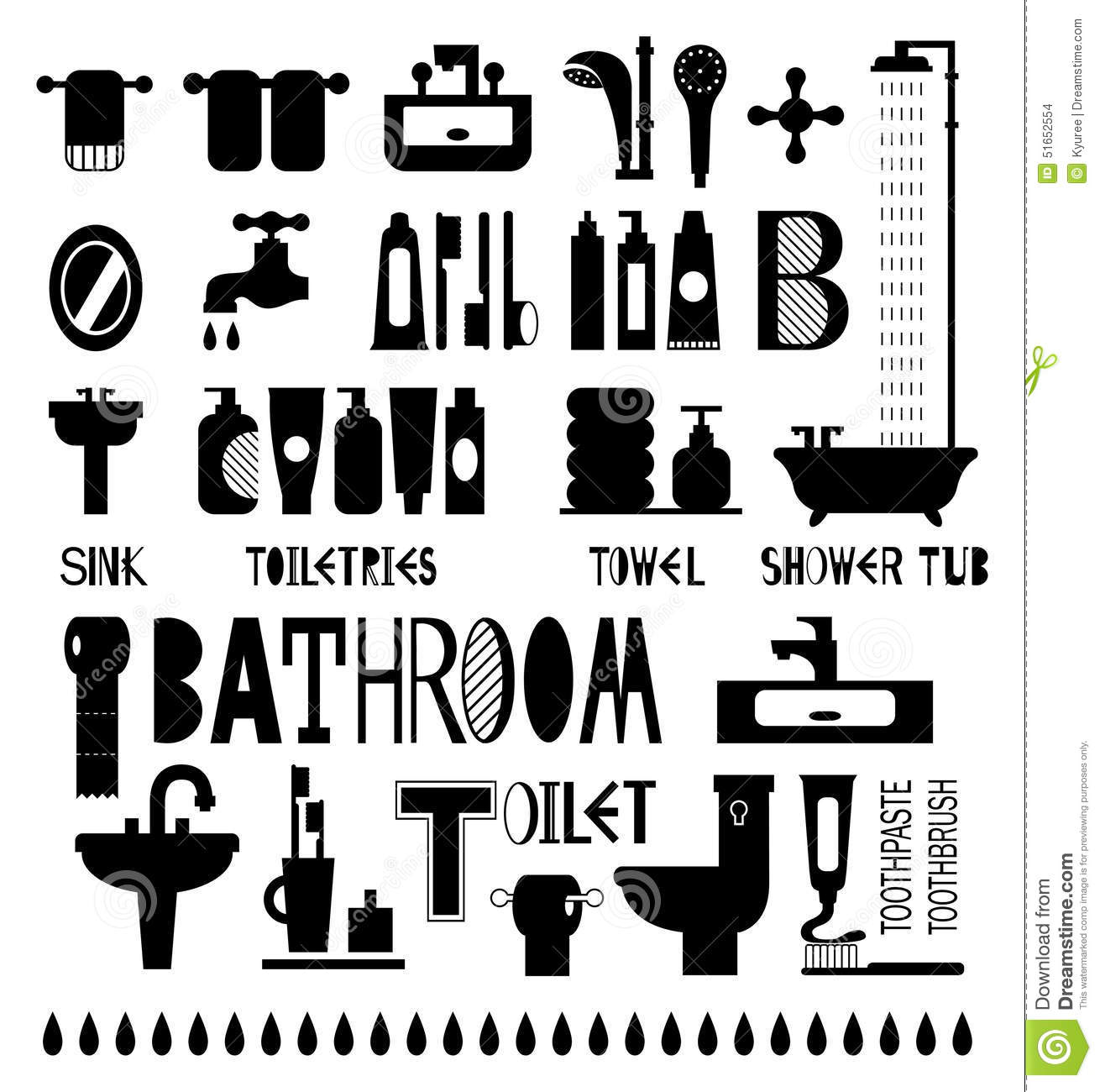 Silhouette Icons Of Bathroom And Toiletries Stock