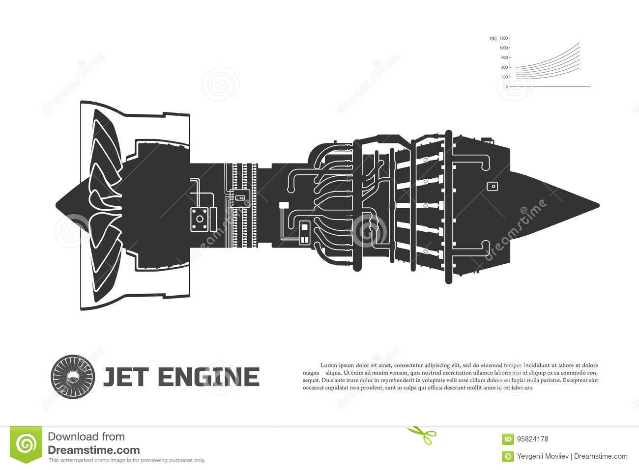 Silhouette Of Jet Engine Of Aircraft Part Of The Airplane