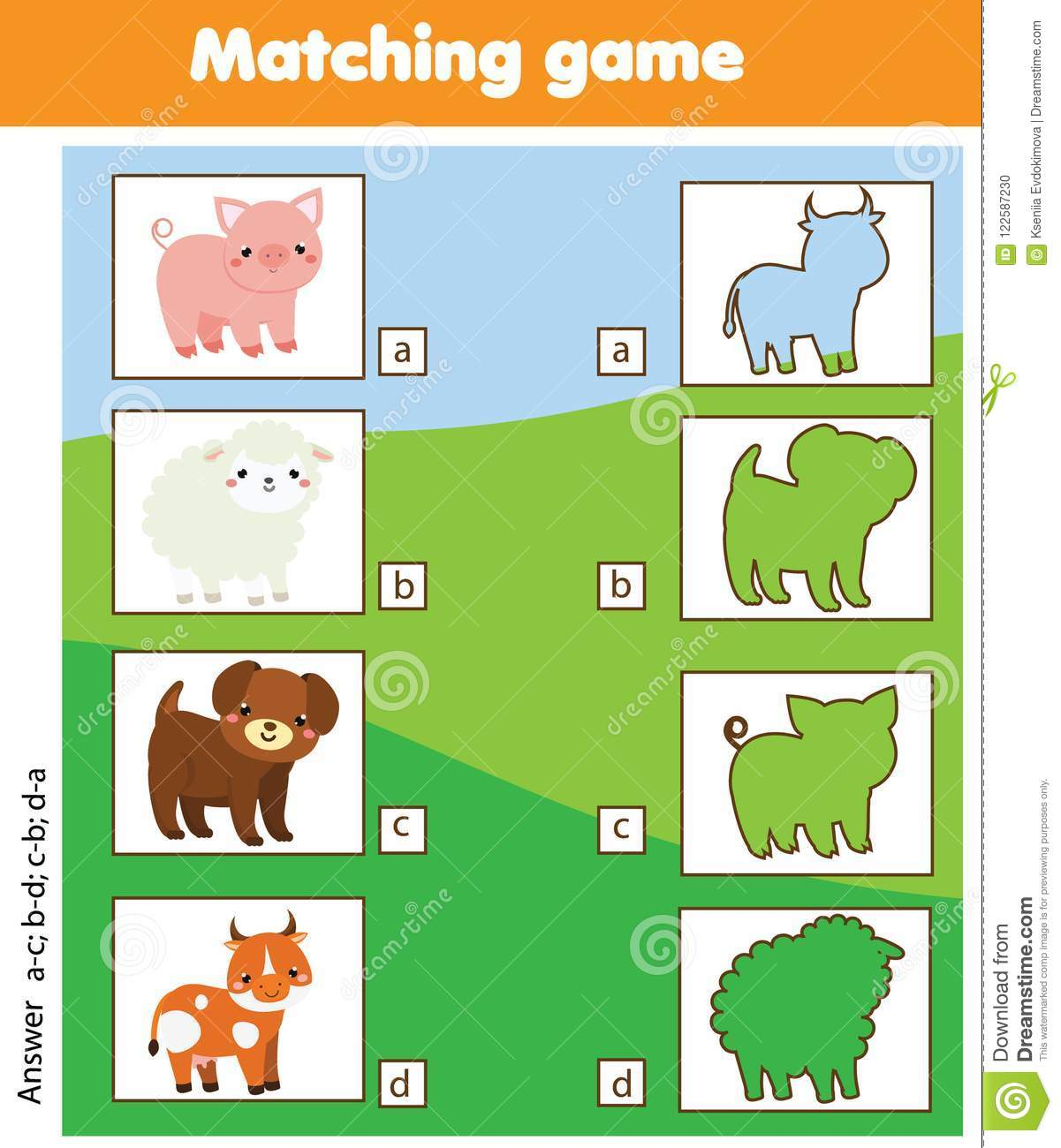 Silhouette Matching Children Educational Game Kids