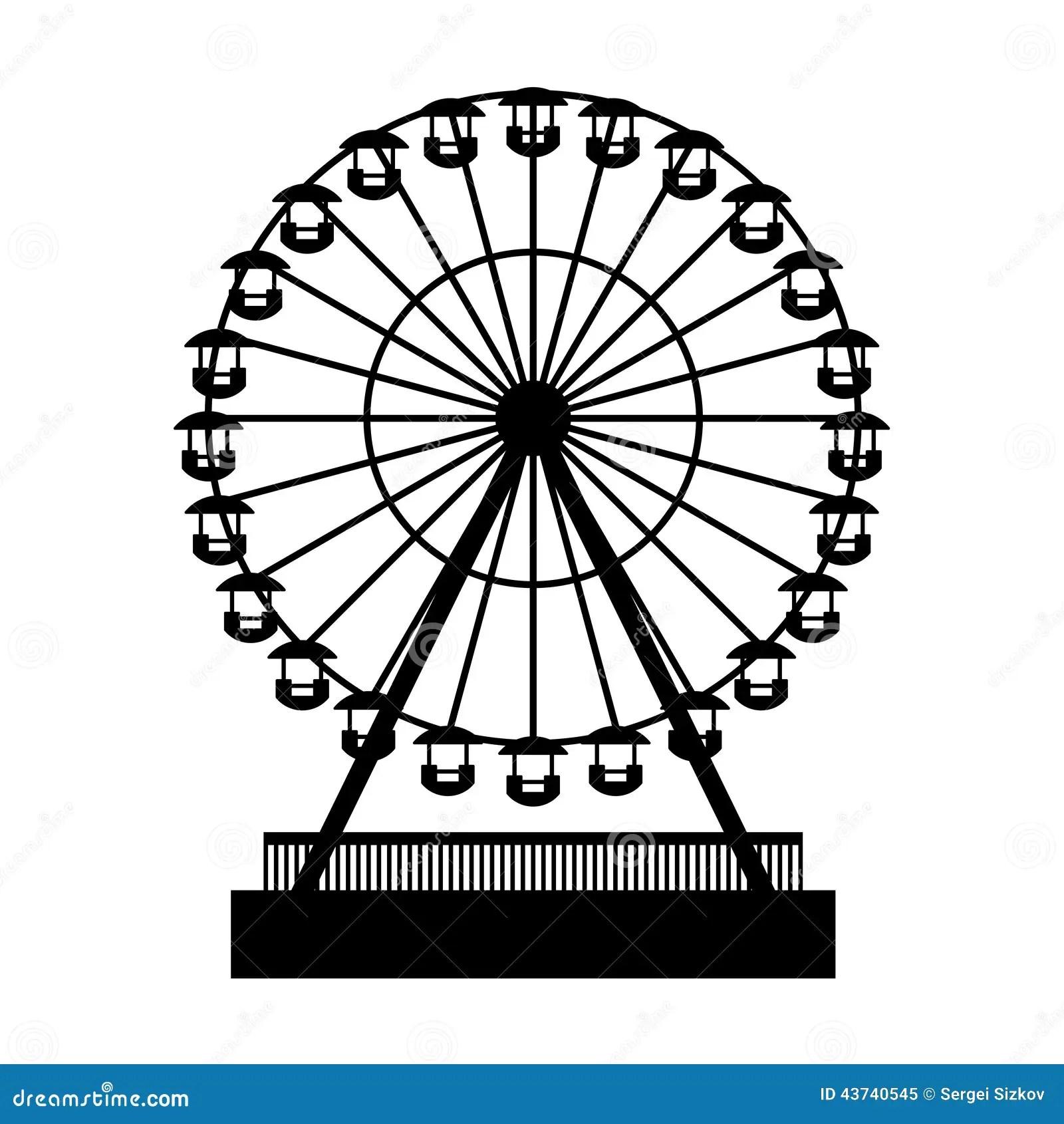 Silhouette Park Atraktsion Ferris Wheel Vector Stock
