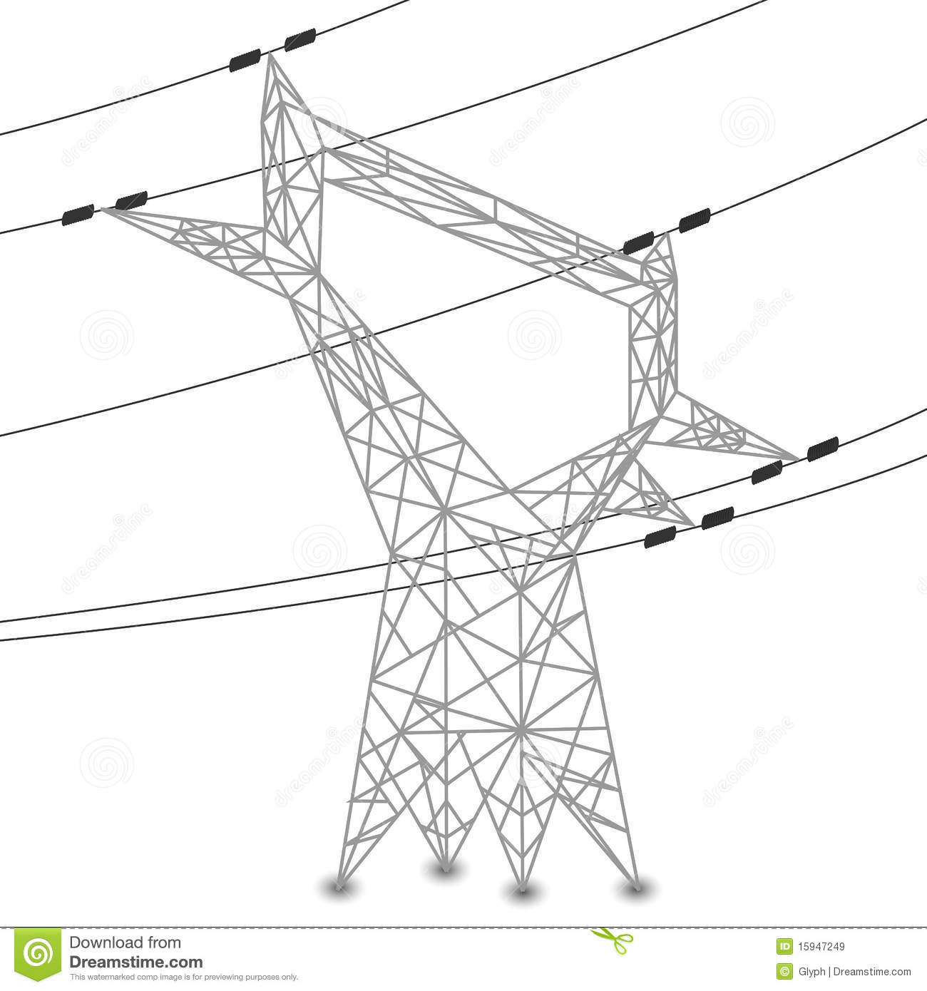 Silhouette Of Power Lines And Electric Pylon Royalty Free