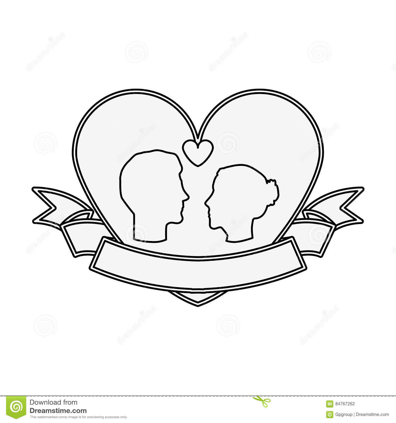 Silhouette Profile Face Engagement Inside Of Heart Shape