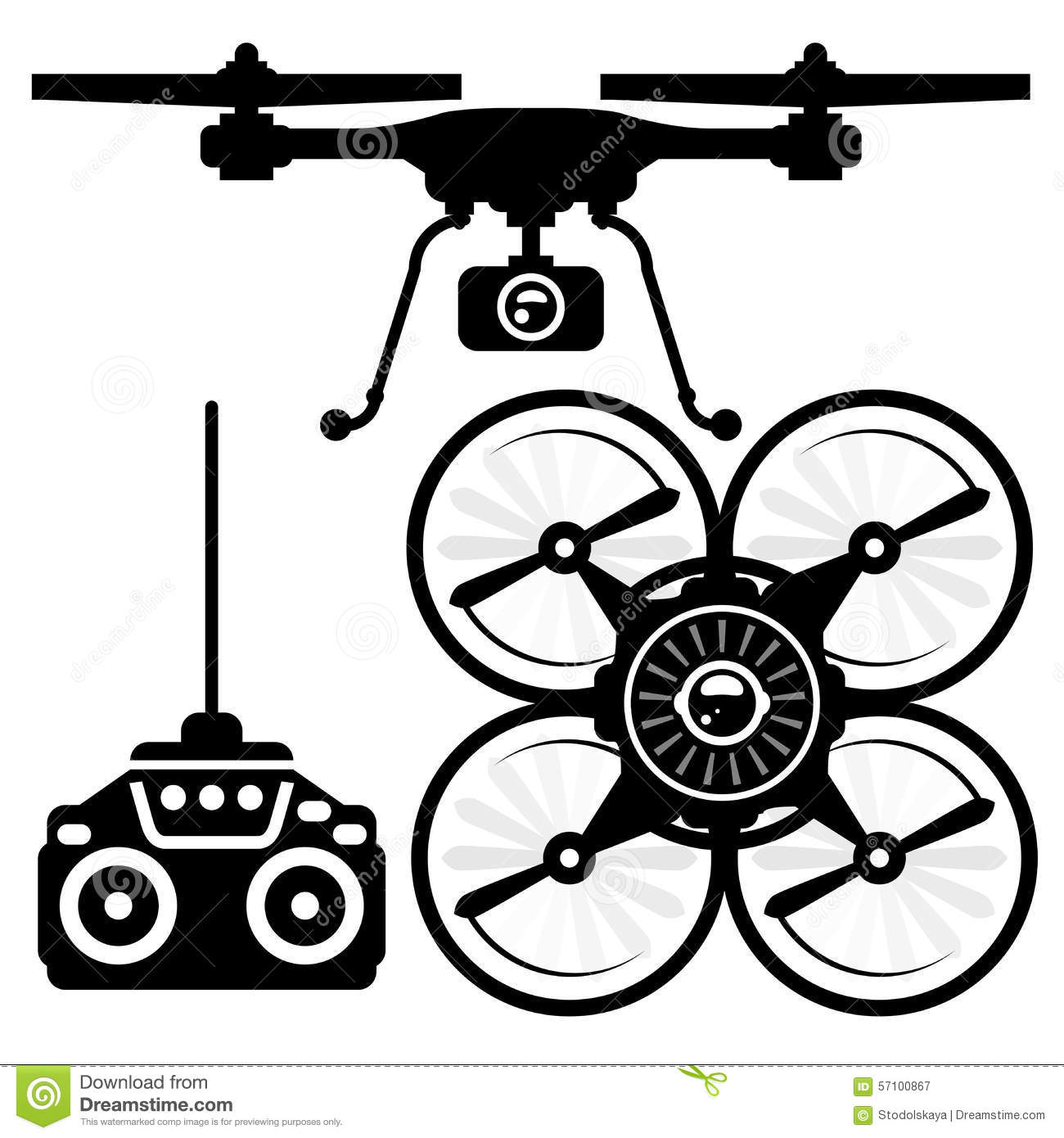 Silhouette Of Quadcopter And Remote Control Stock Photo