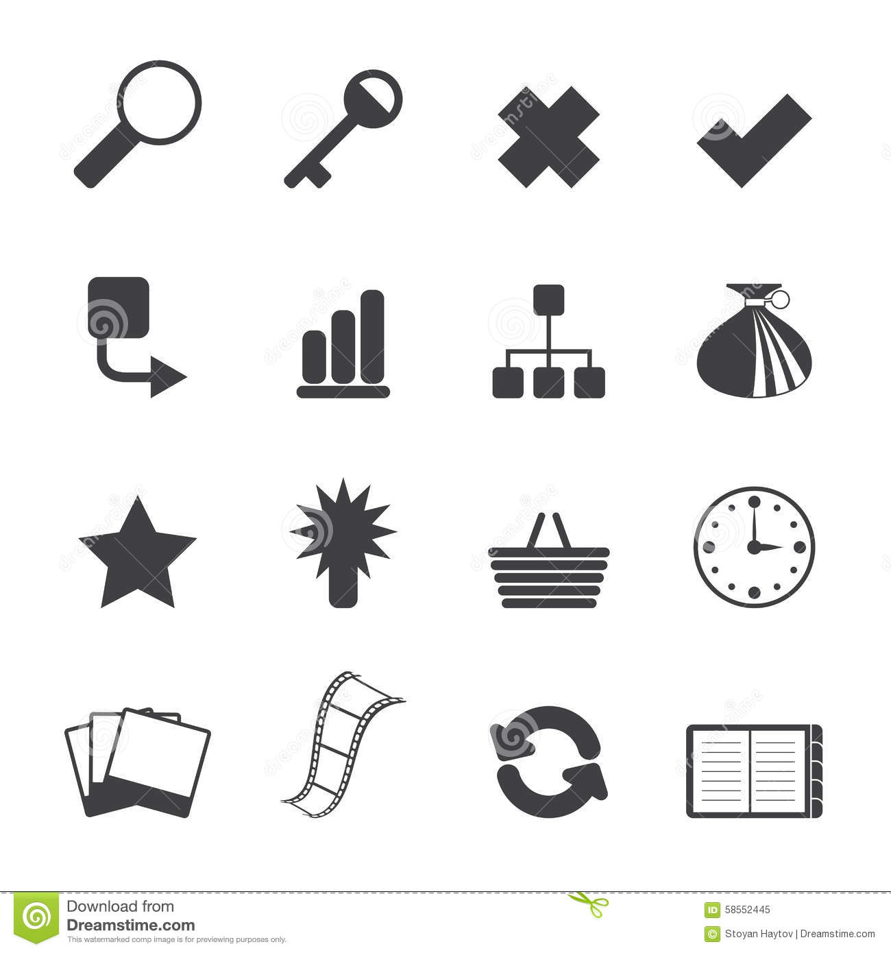 Silhouette Simple Business And Internet Icons Vector