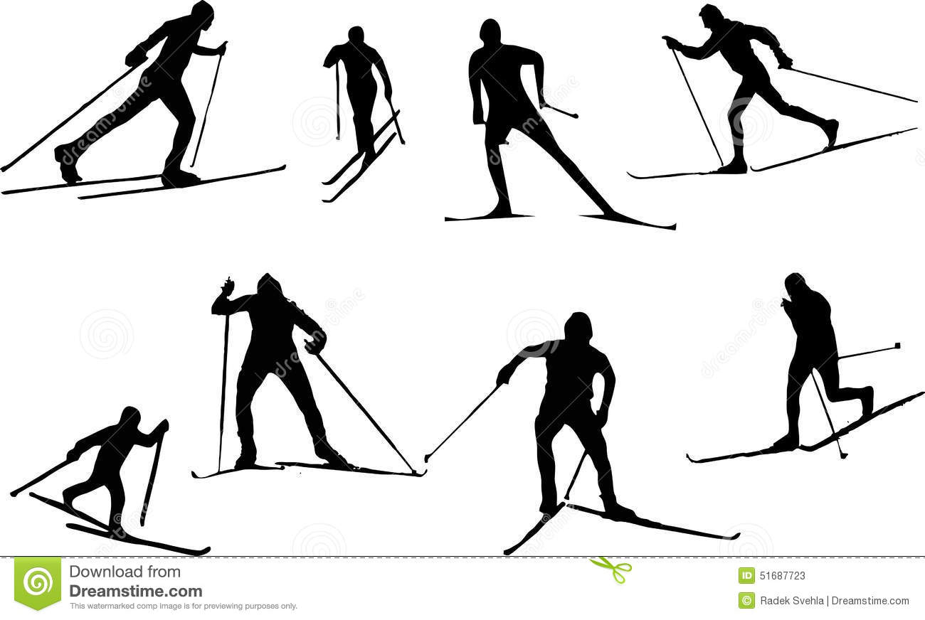 Silhouette Cross Country Skiing Stock Vector