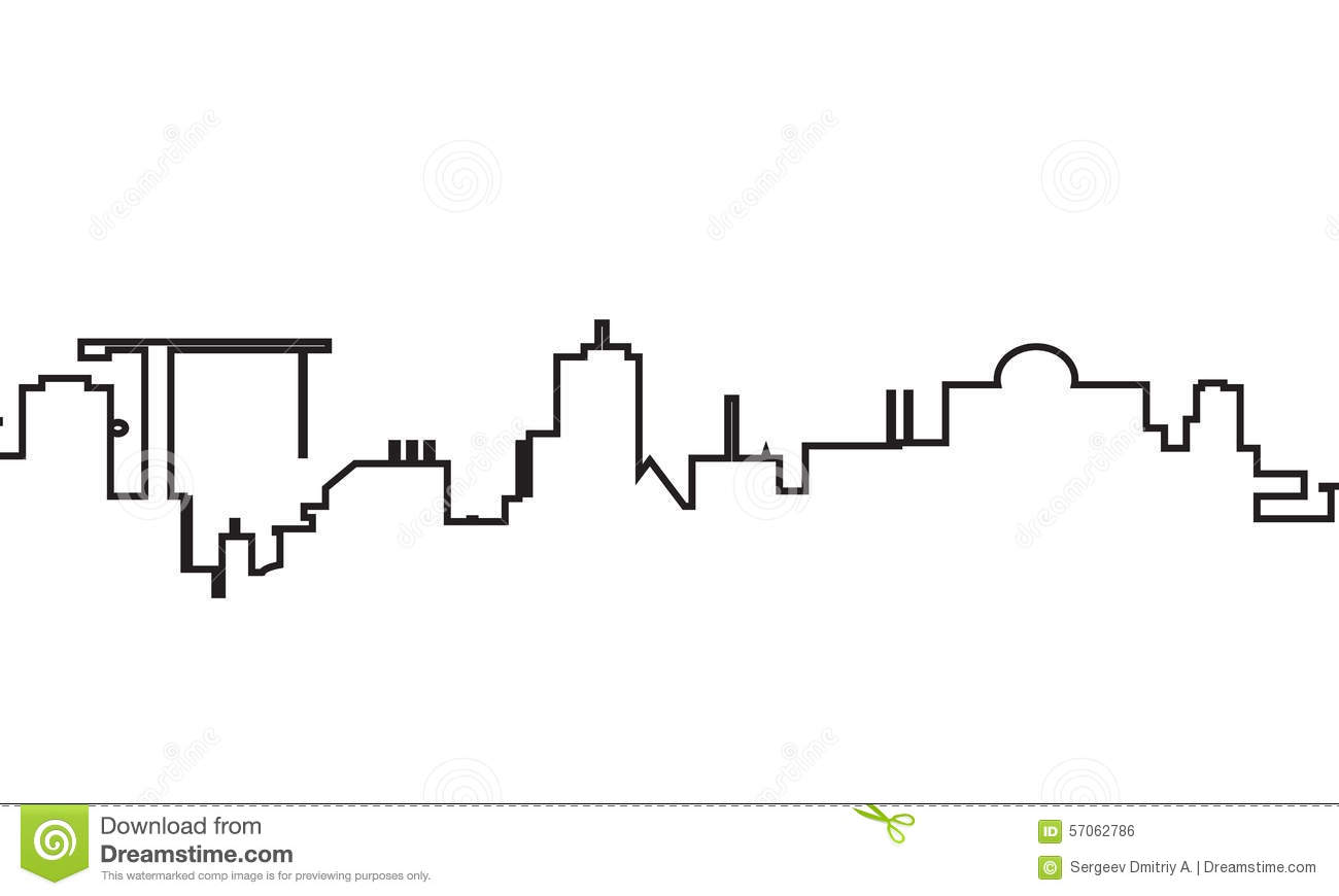 Silhouette Of Town Stock Vector Illustration Of Downtown