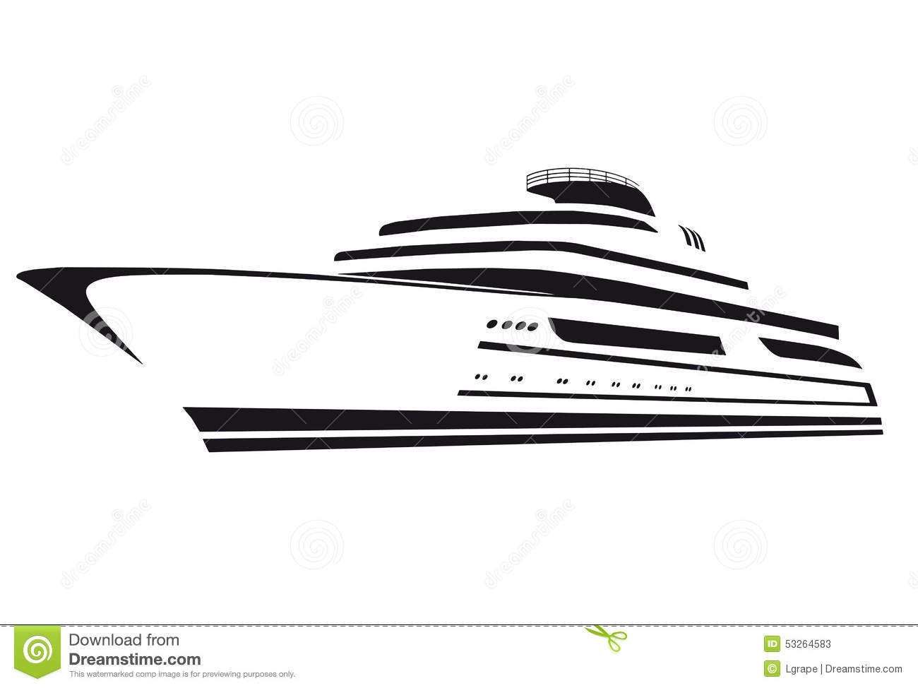 Silhouette Of The Yacht Boat Ship Stock Vector