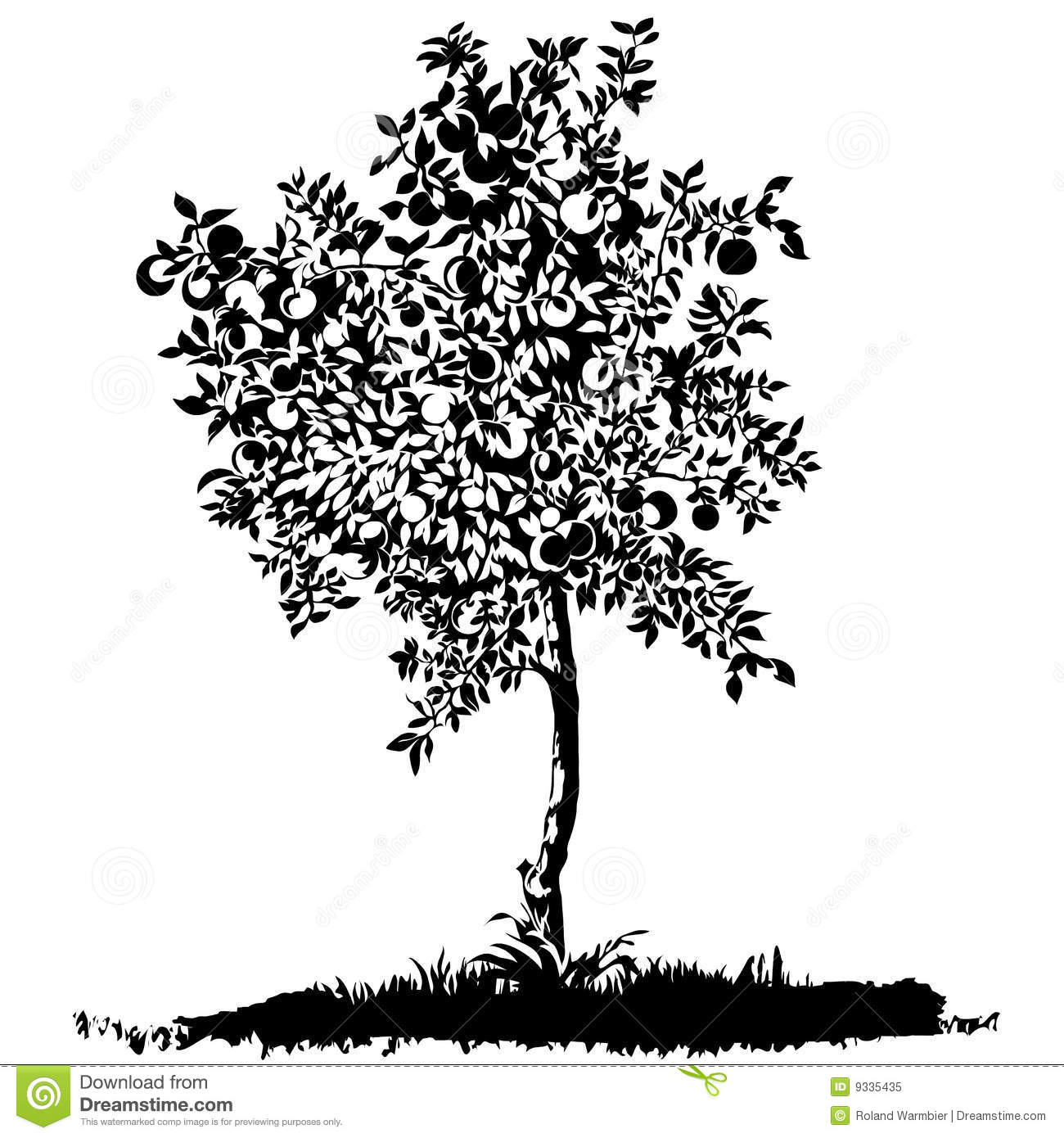 Silhouette Of A Young Apple Tree Stock Vector