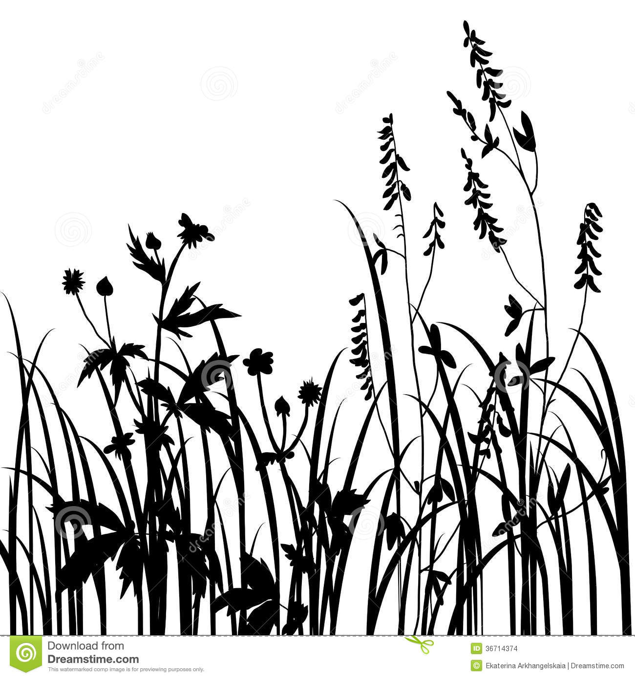 Silhouettes Of Flowers And Grass Stock Vector