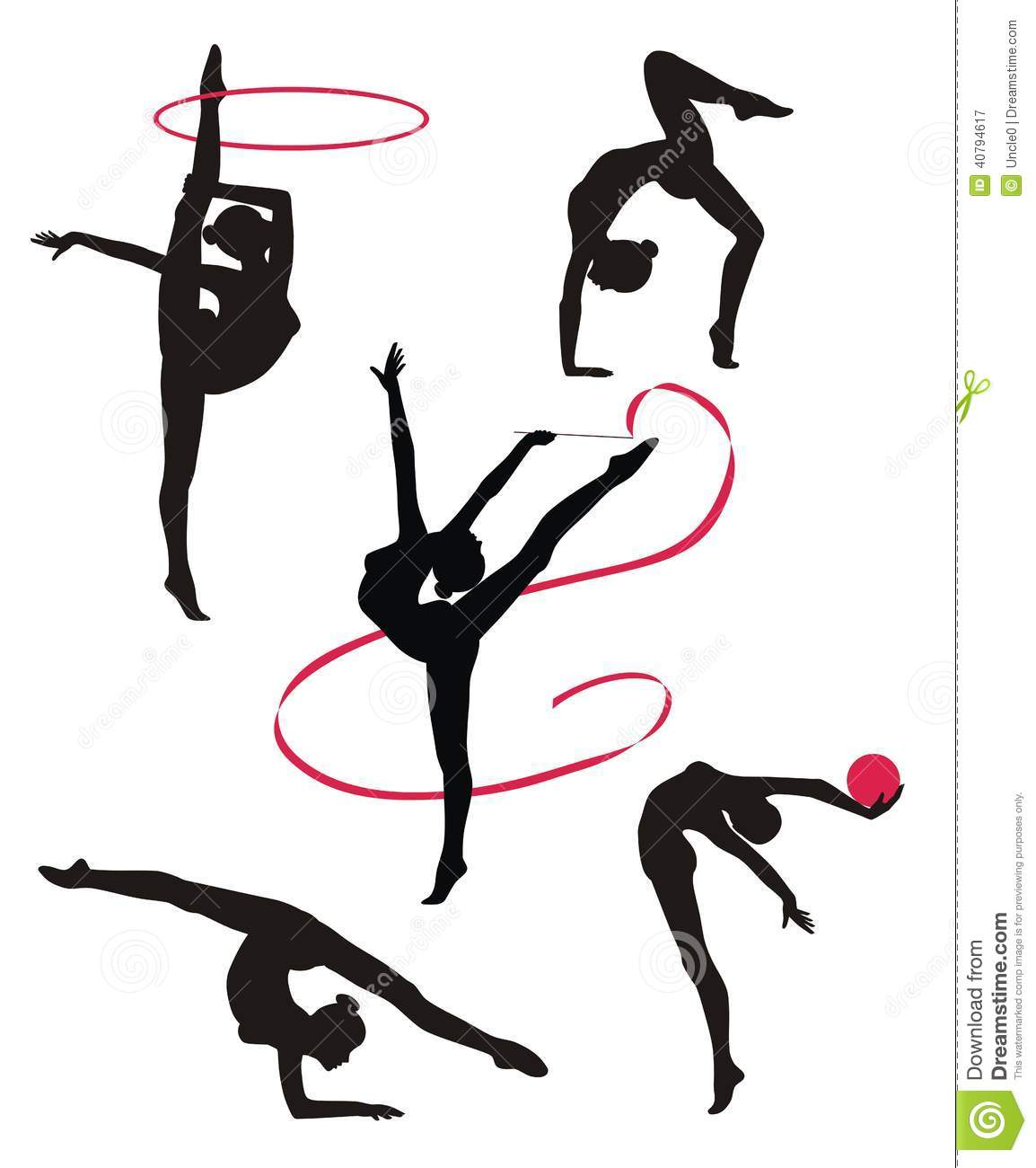 Silhouettes Of Gymnasts Stock Vector