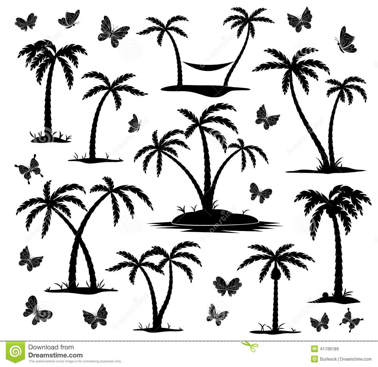 Silhouettes Of Exotic Butterflies Cartoon Vector