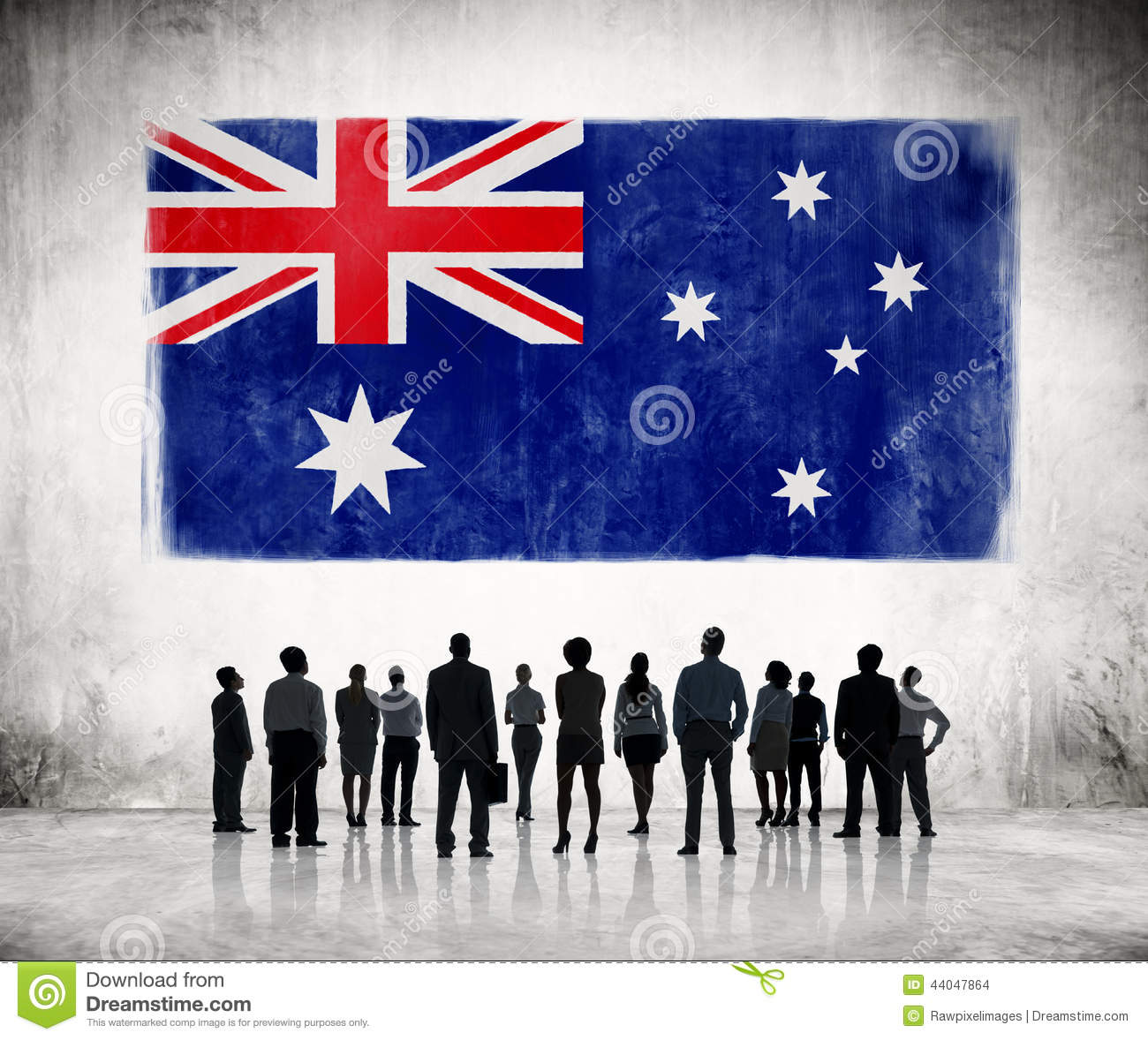 Silhouettes Of People Looking At The Australian Flag Stock