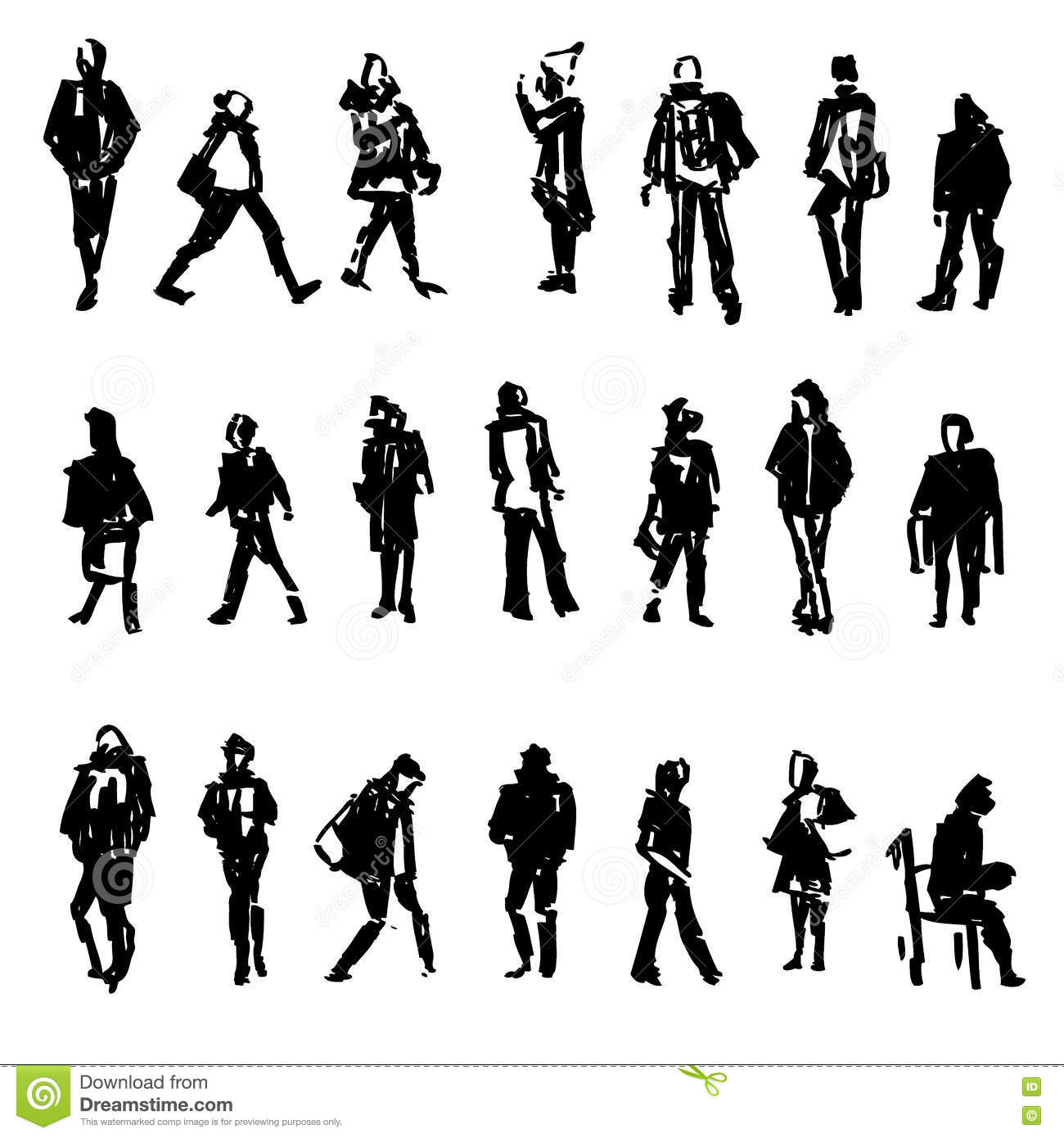 Collection Of Sitting People Vector Vector Illustration