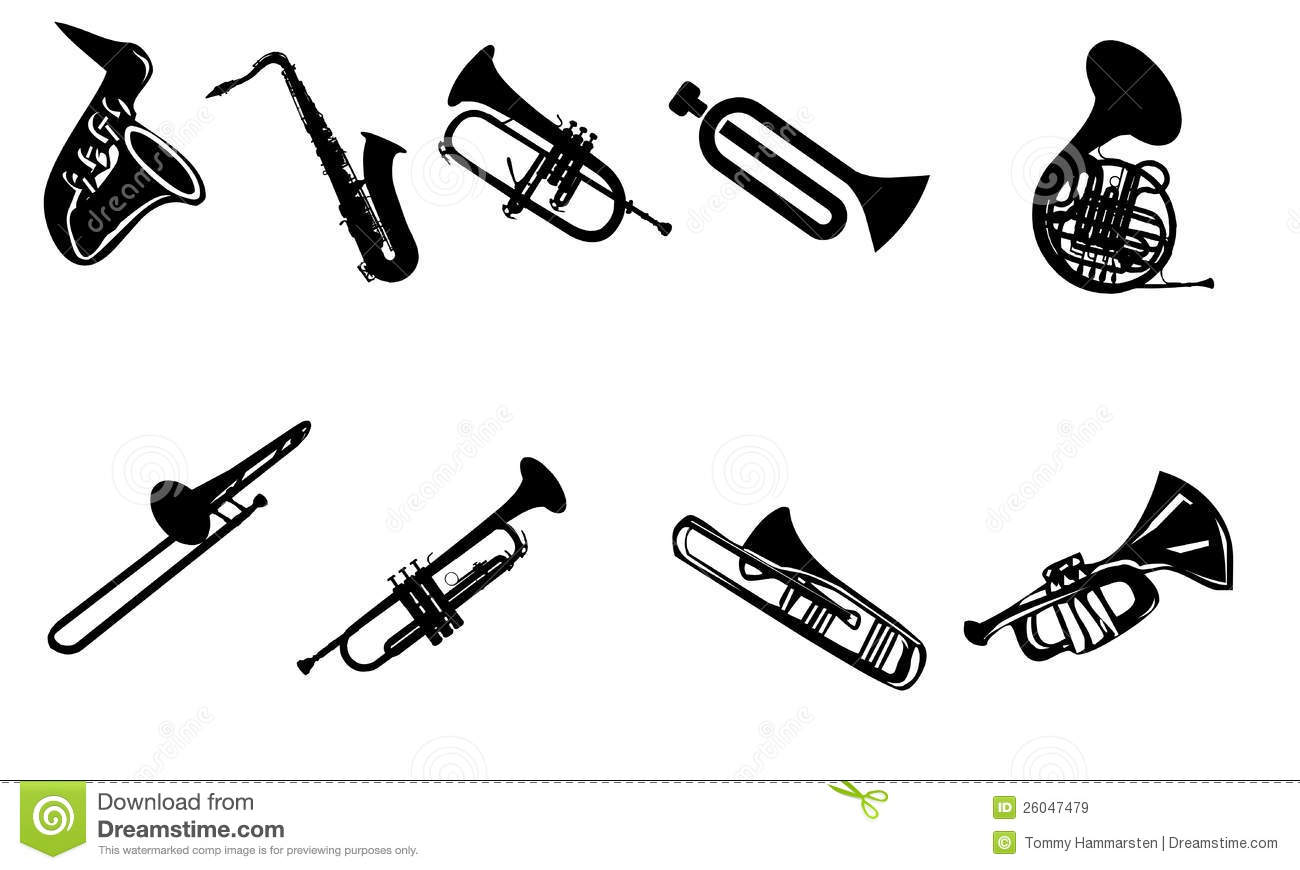 Silhouettes Of Wind Instruments Stock Illustration
