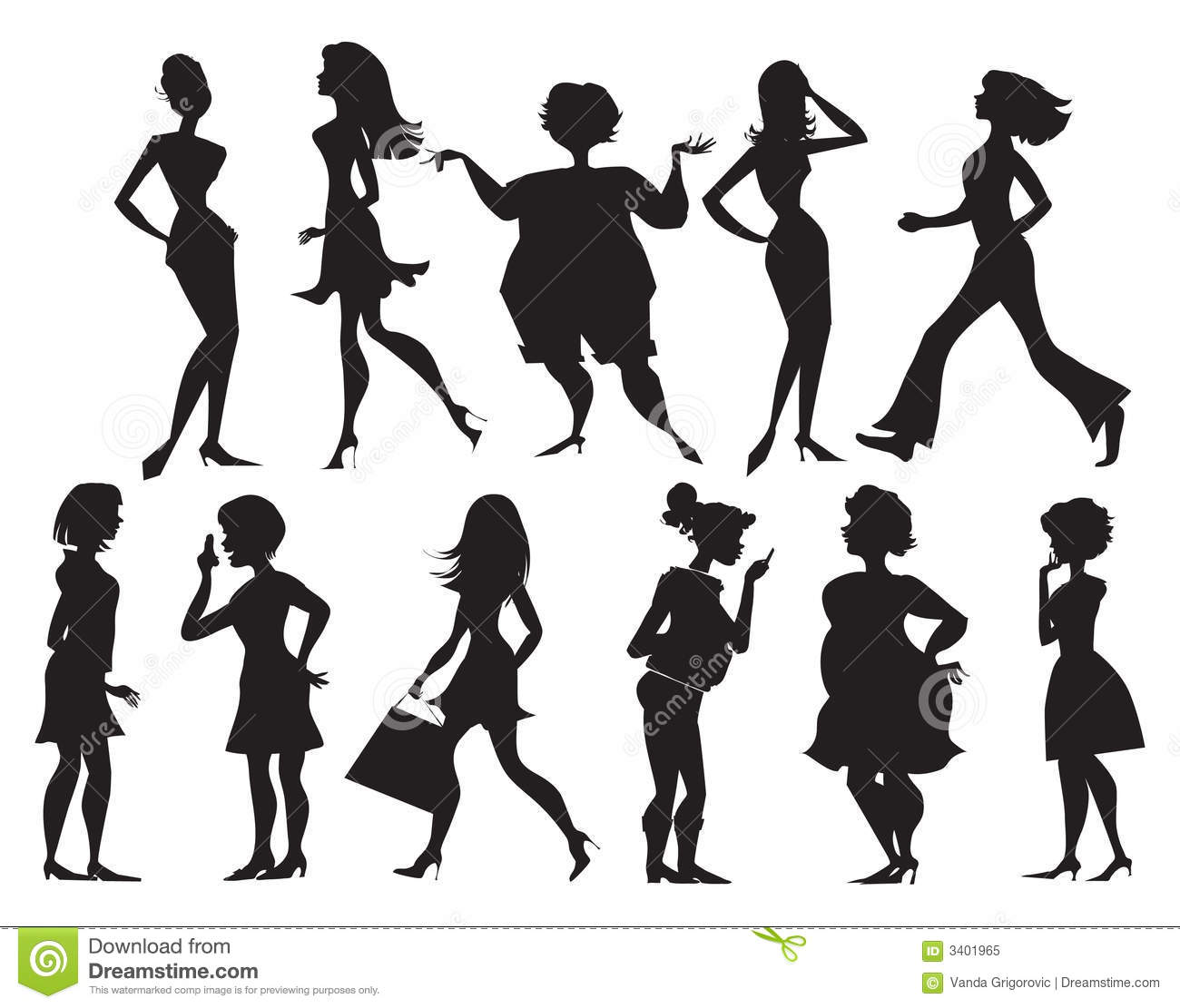 Silhouettes Of Women Stock Vector Illustration Of