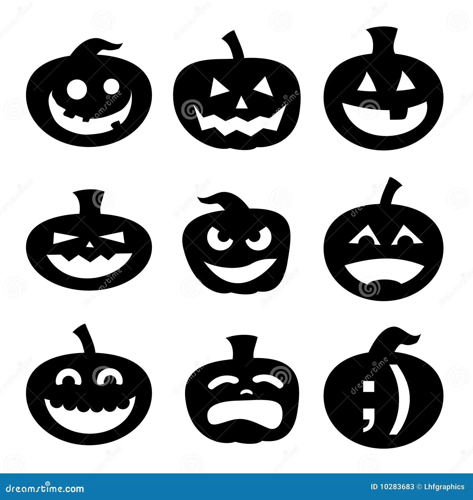 Silhuetas Da Abobora De Halloween Ilustracao Do Vetor