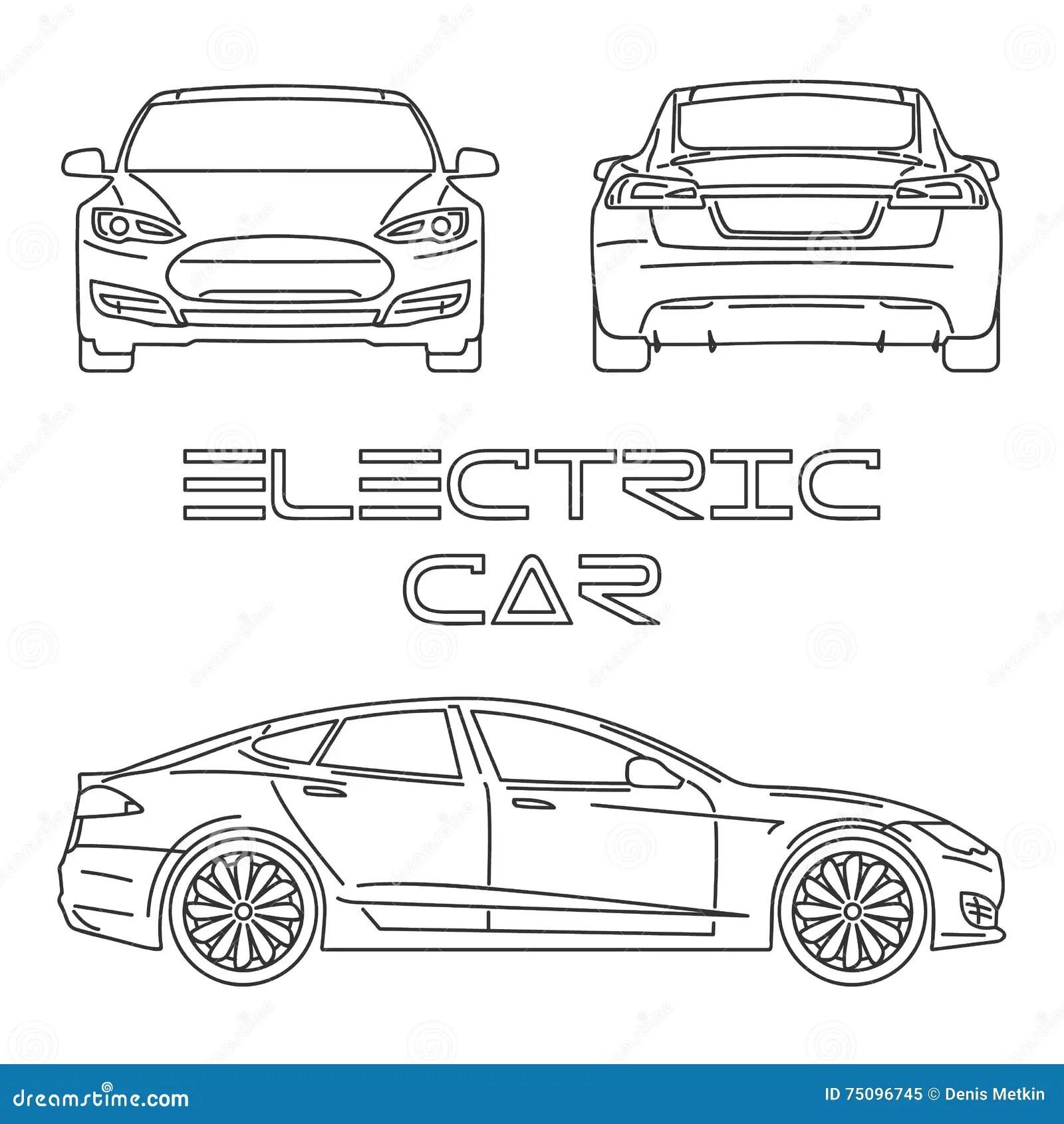 Silueta Del Coche Electrico Contorno Ilustracion Del