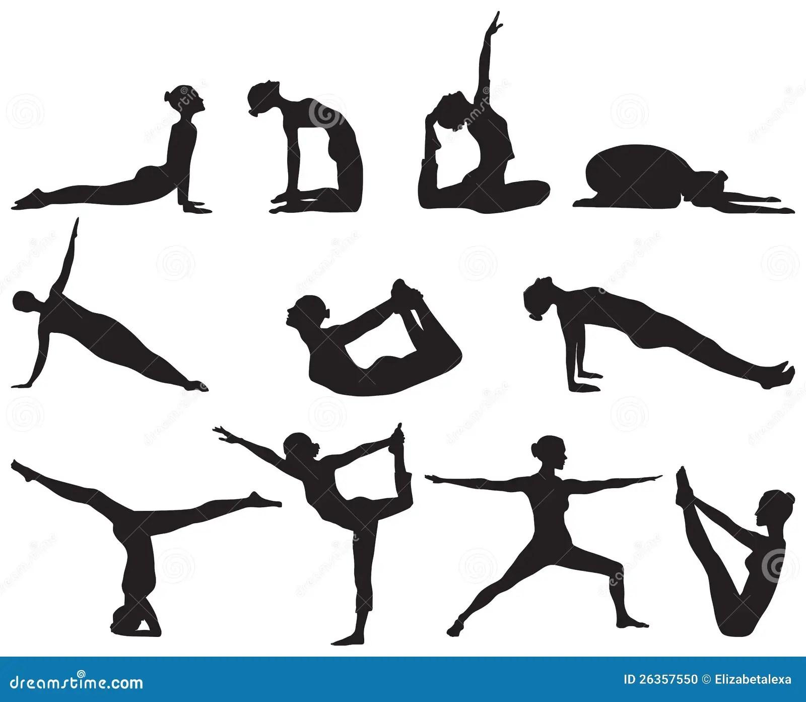 Siluetas De Las Posiciones De La Yoga Respecto Al Fondo