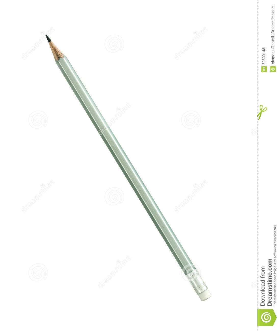 Silver Color Wooden Pencil Isolated On White Background