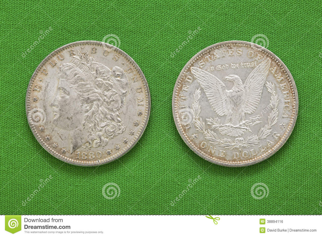 Silver Morgan Us Dollars Obverse Reverse Stock Photo