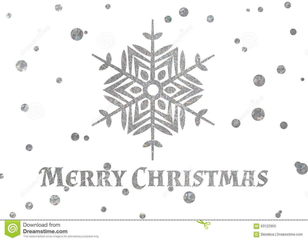 Silver Snowflake And Inscription Merry Christmas Stock
