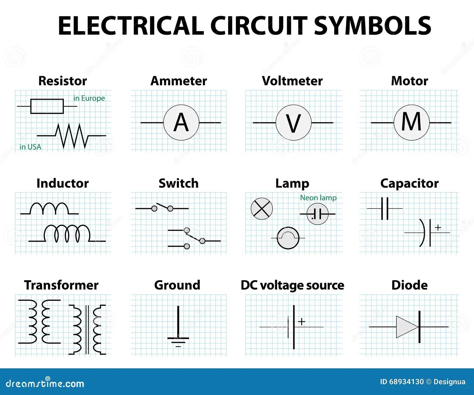 Simboli Comuni Dello Schema Circuitale Illustrazione Vettoriale