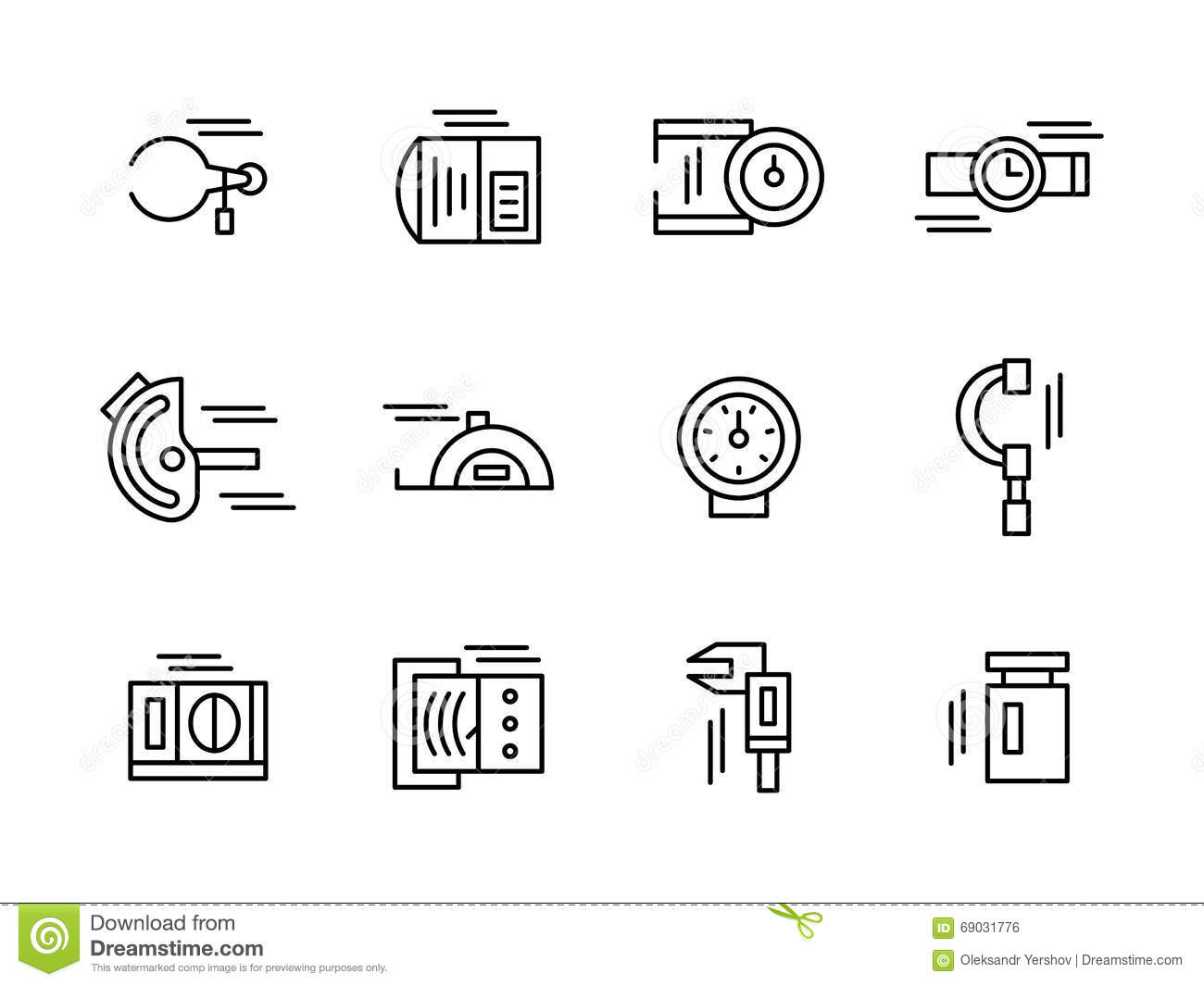 Simple Black Line Metrology Tools Icons Set Stock