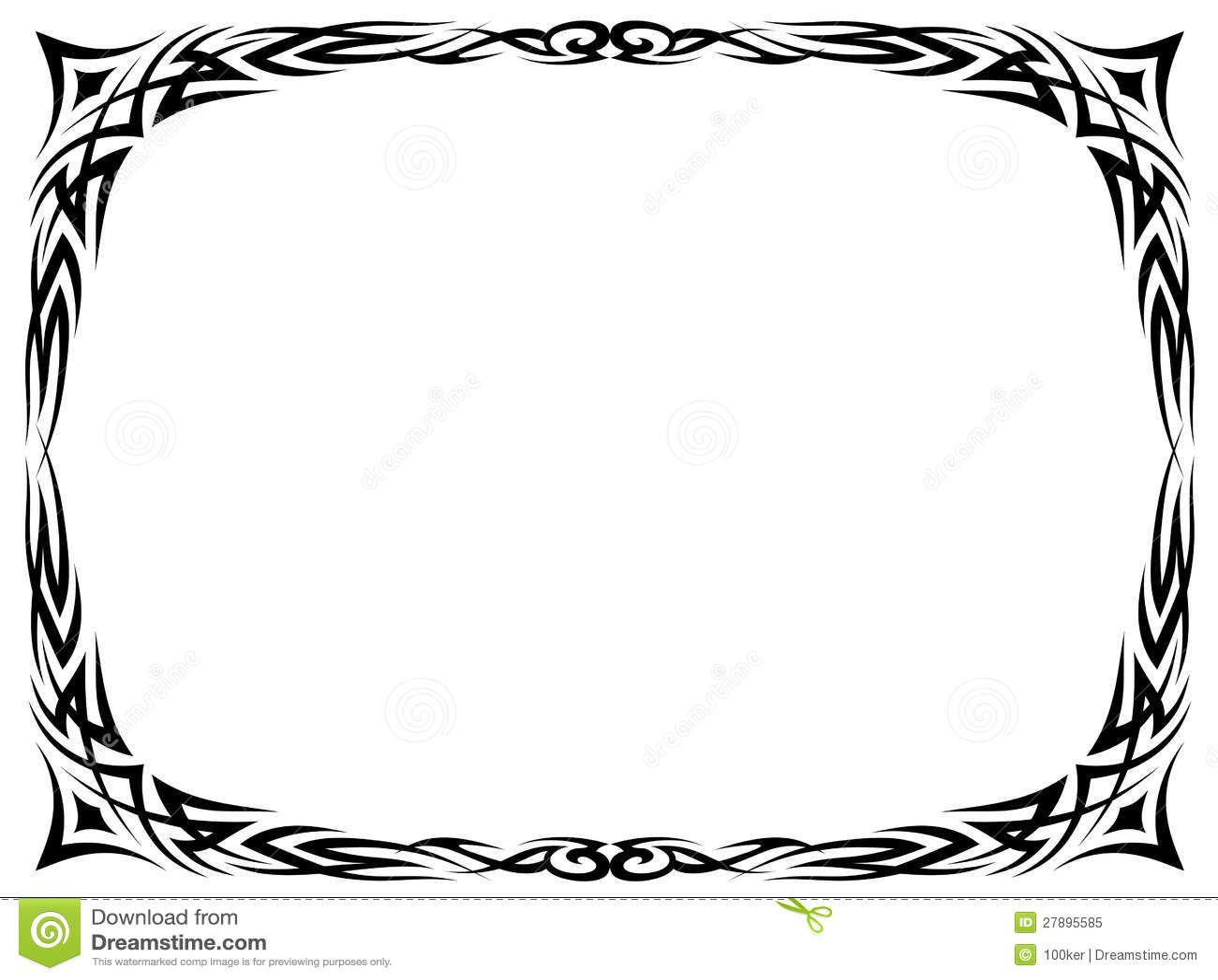 Simple Black Tattoo Ornamental Decorative Frame Stock