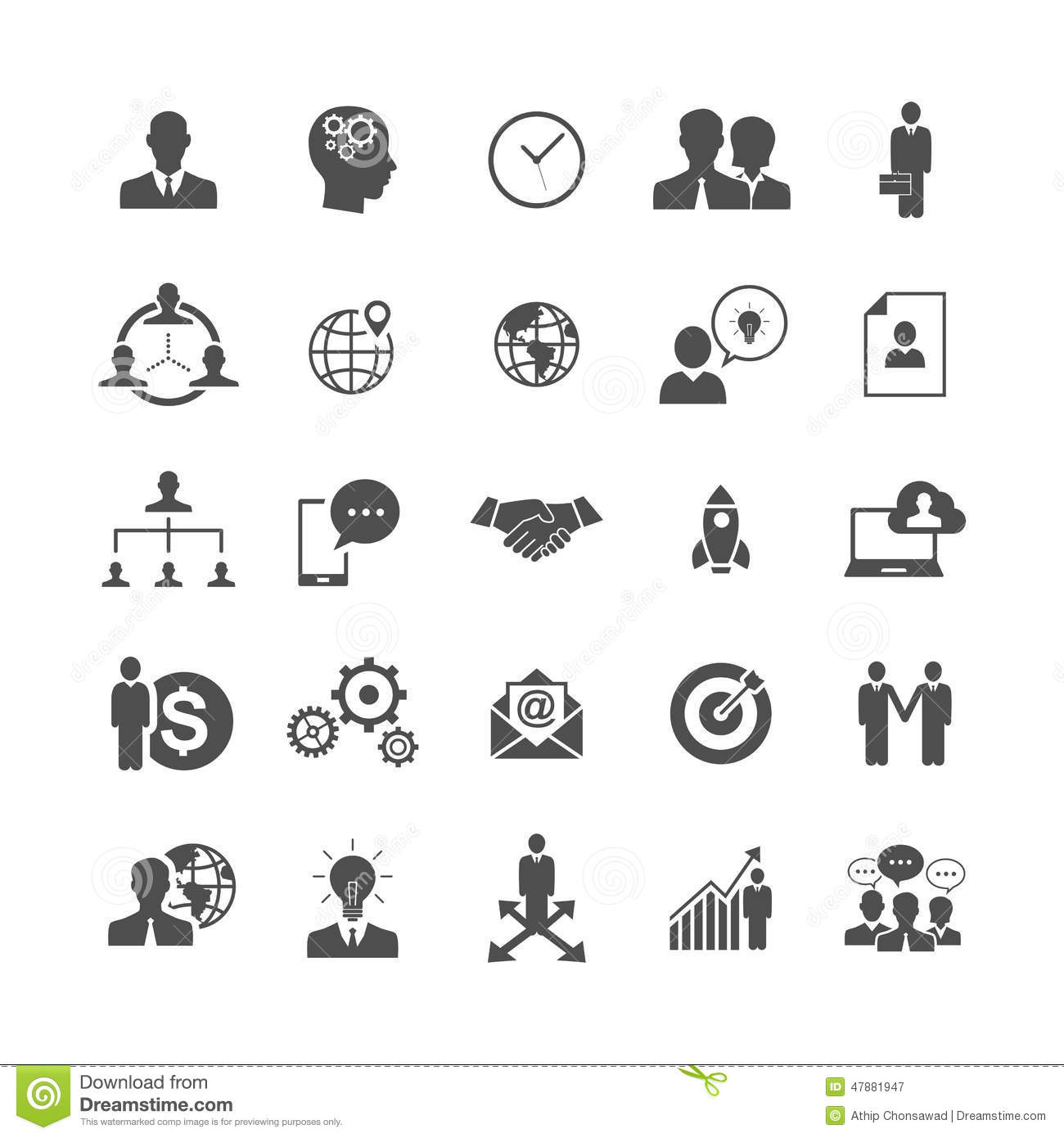 Silhouette Simple Business And Office Icons Vector