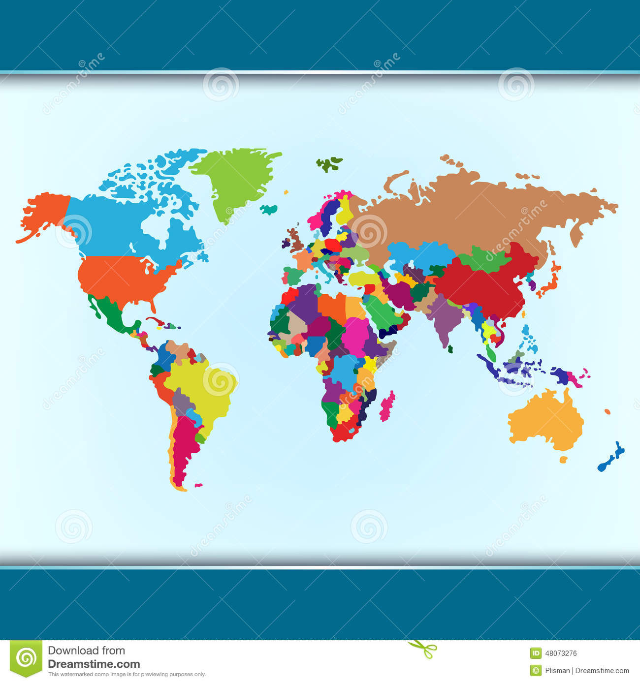 Simple Colorful World Map Stock Vector Illustration Of