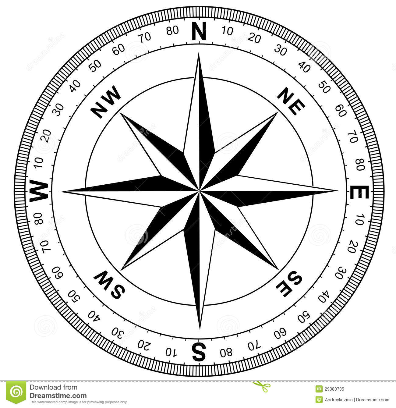 Simple Compass Rose Stock Illustration Image Of